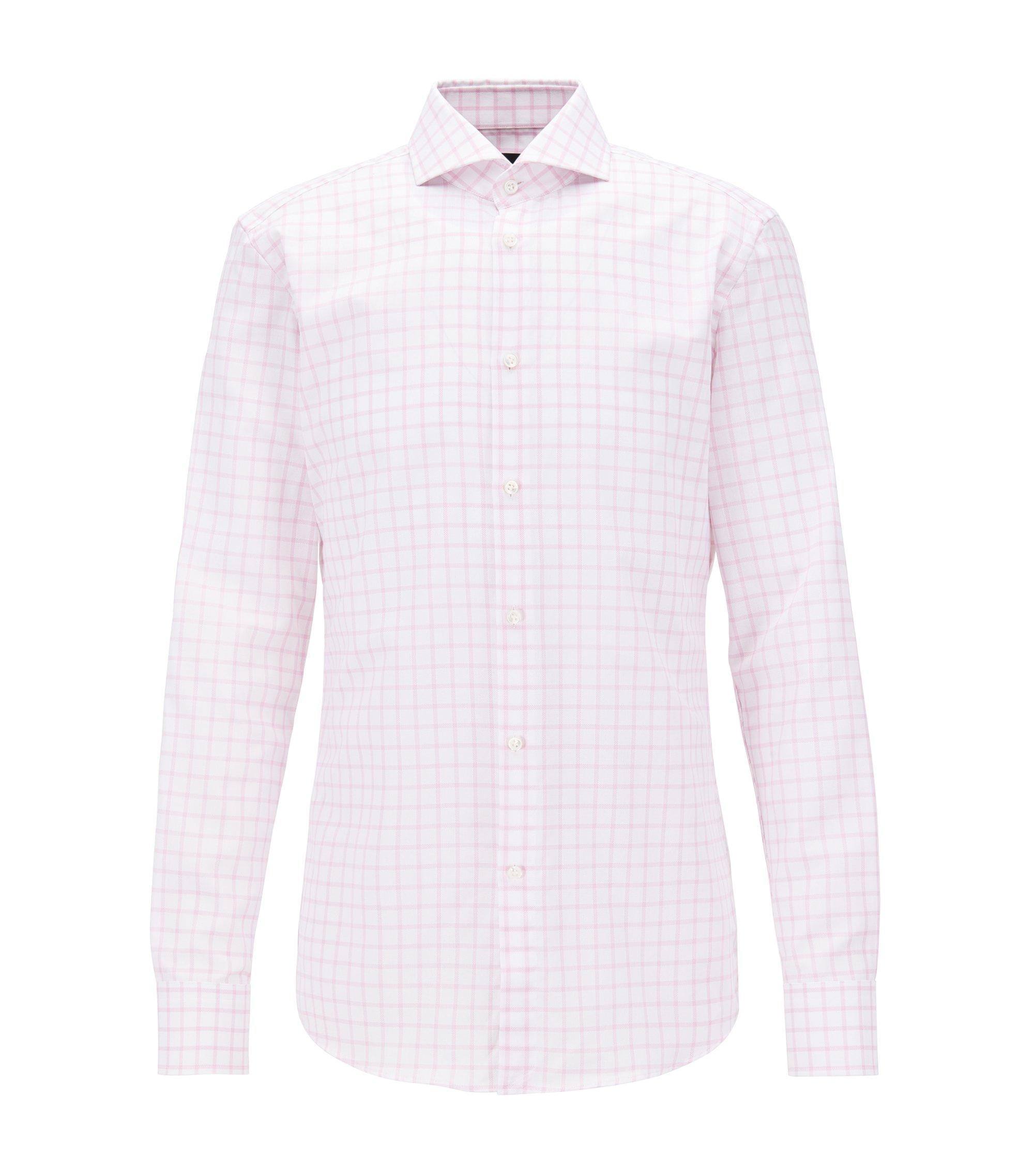 Check Cotton Dress Shirt, Slim Fit | T-Christo, light pink