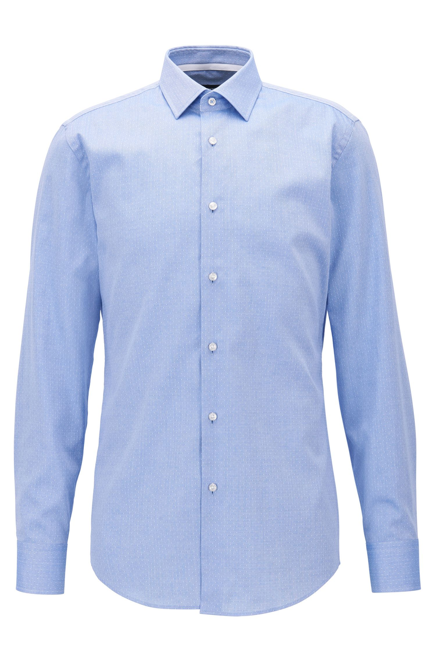 Dot-Print Cotton Dress Shirt, Slim Fit | Jesse, Blue