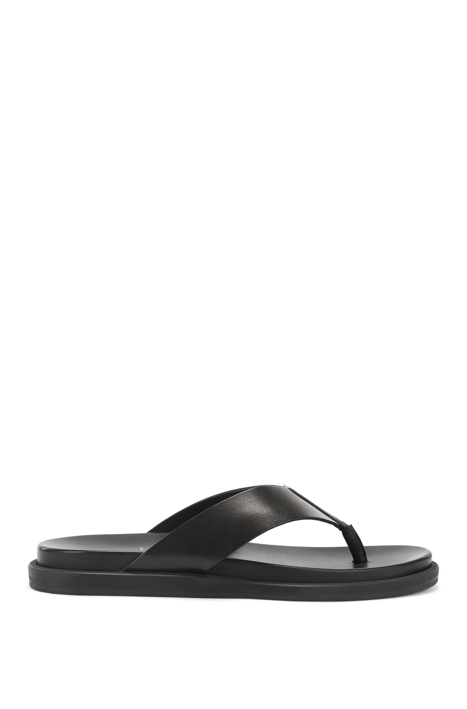 Leather Thong Sandal | Hamptons Thon Ltva, Black
