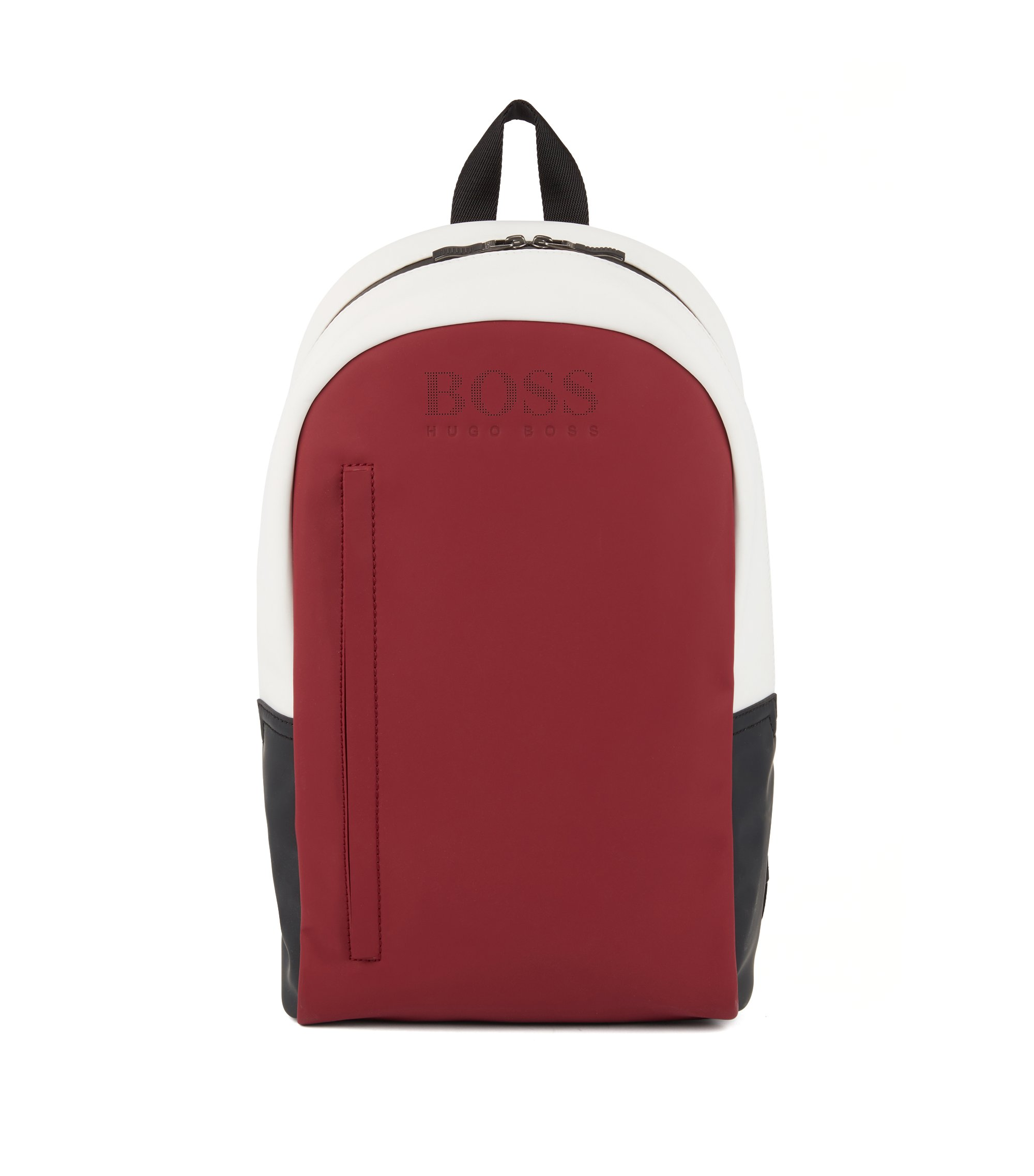 Colorblock backpack in rubberized fabric, Red