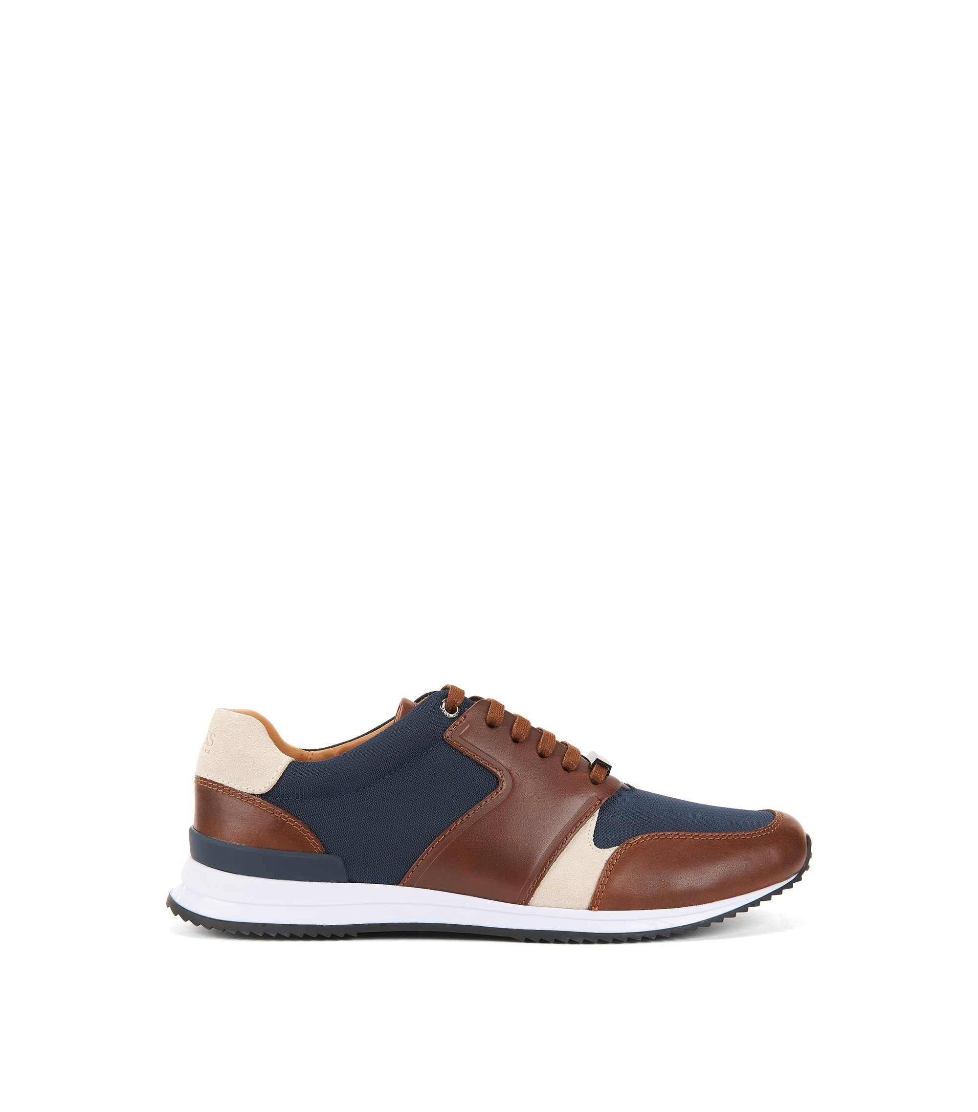 Leather Sneaker | Legacy Runn Nylt, Open brown