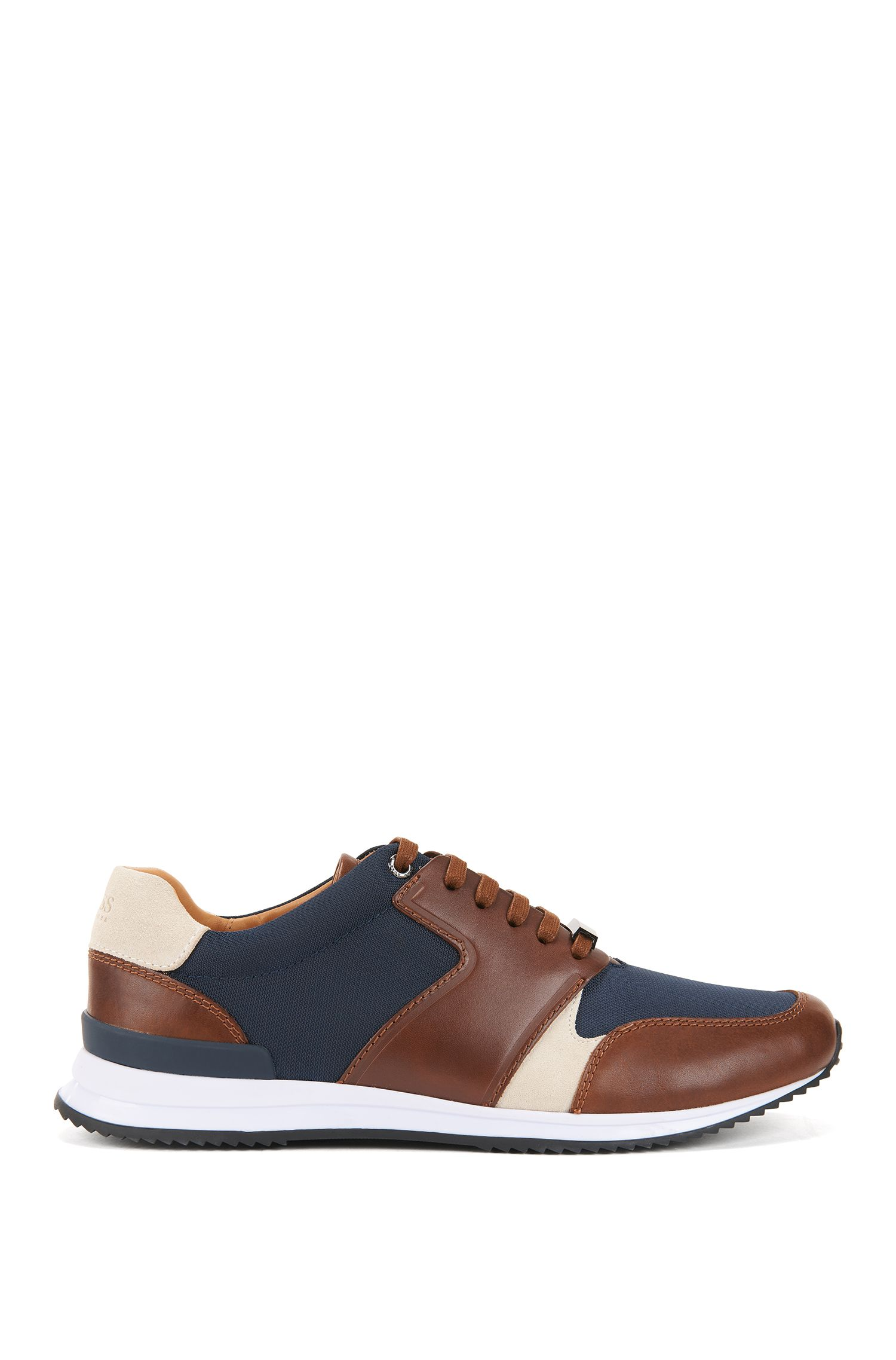 Leather Sneaker | Legacy Runn Nylt, Open brown