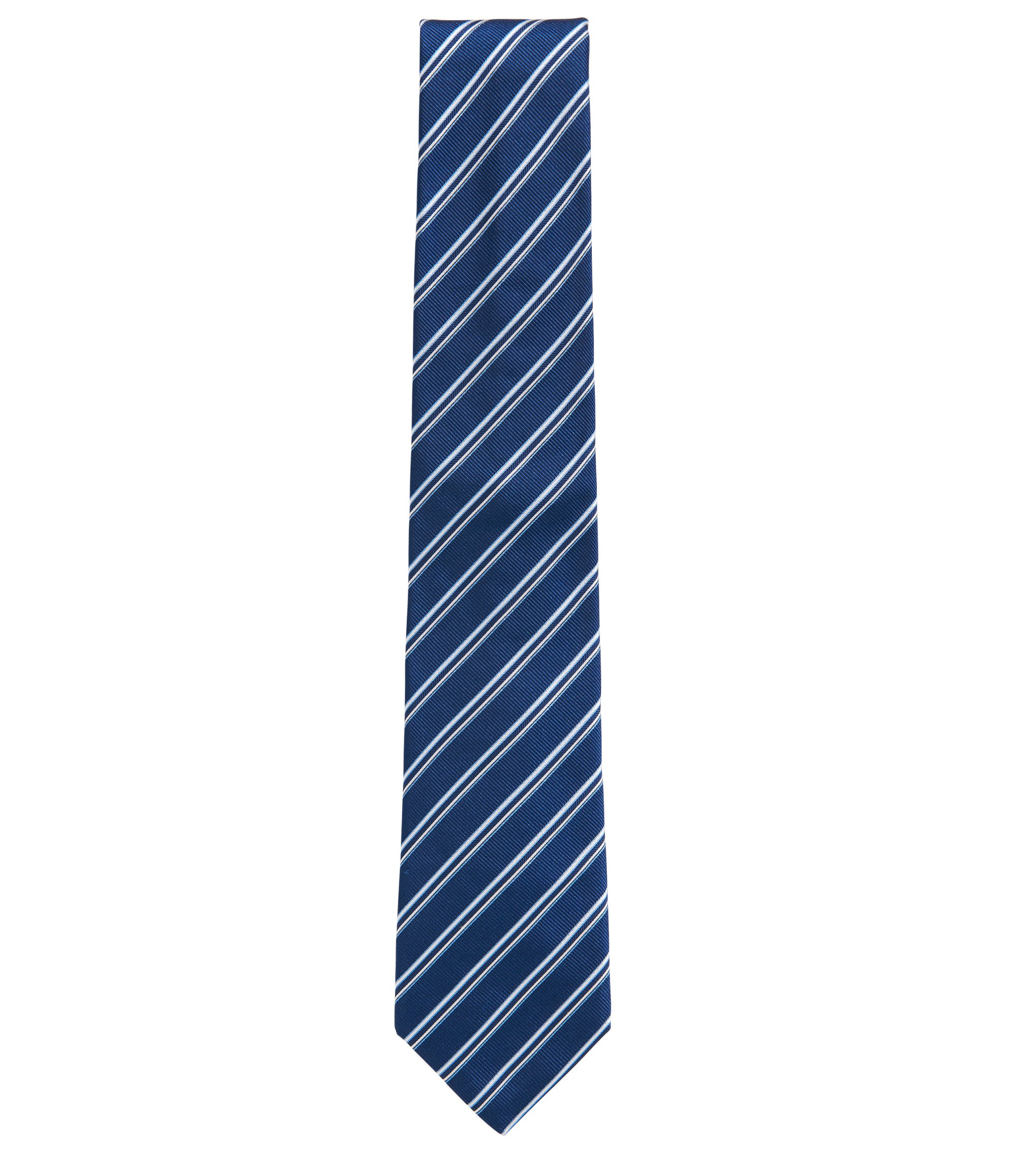Striped Italian Silk Repp Tie, Blue