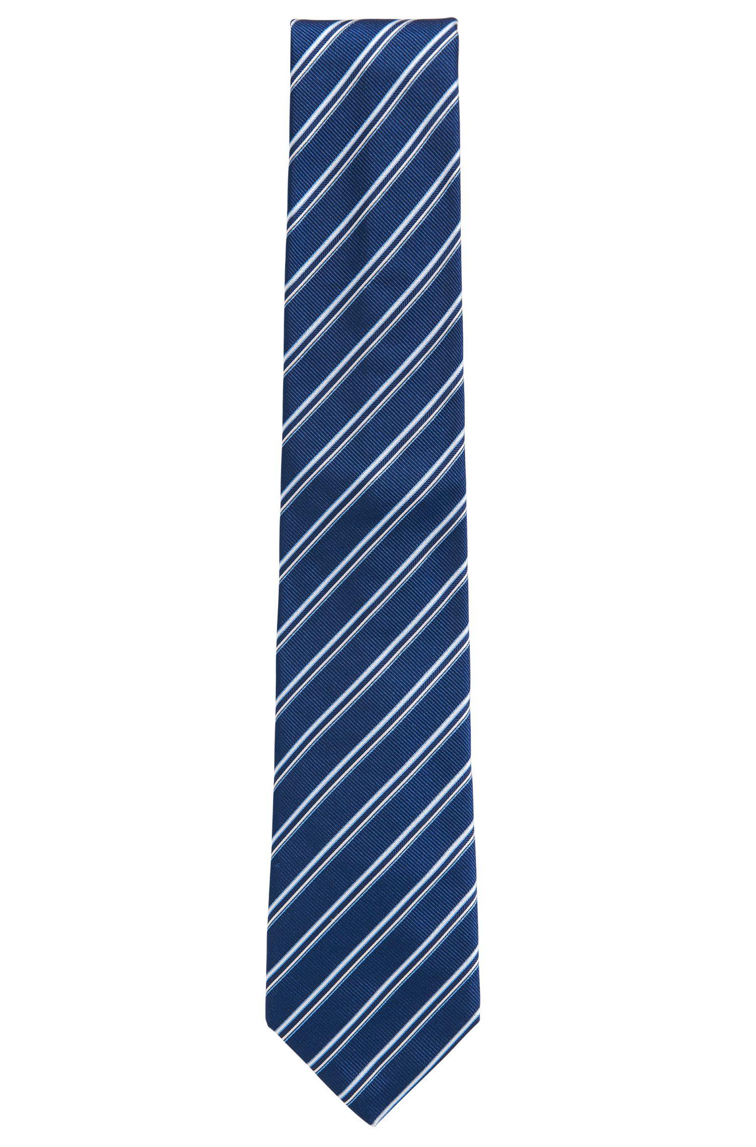 Striped Italian Silk Repp Tie, Blue