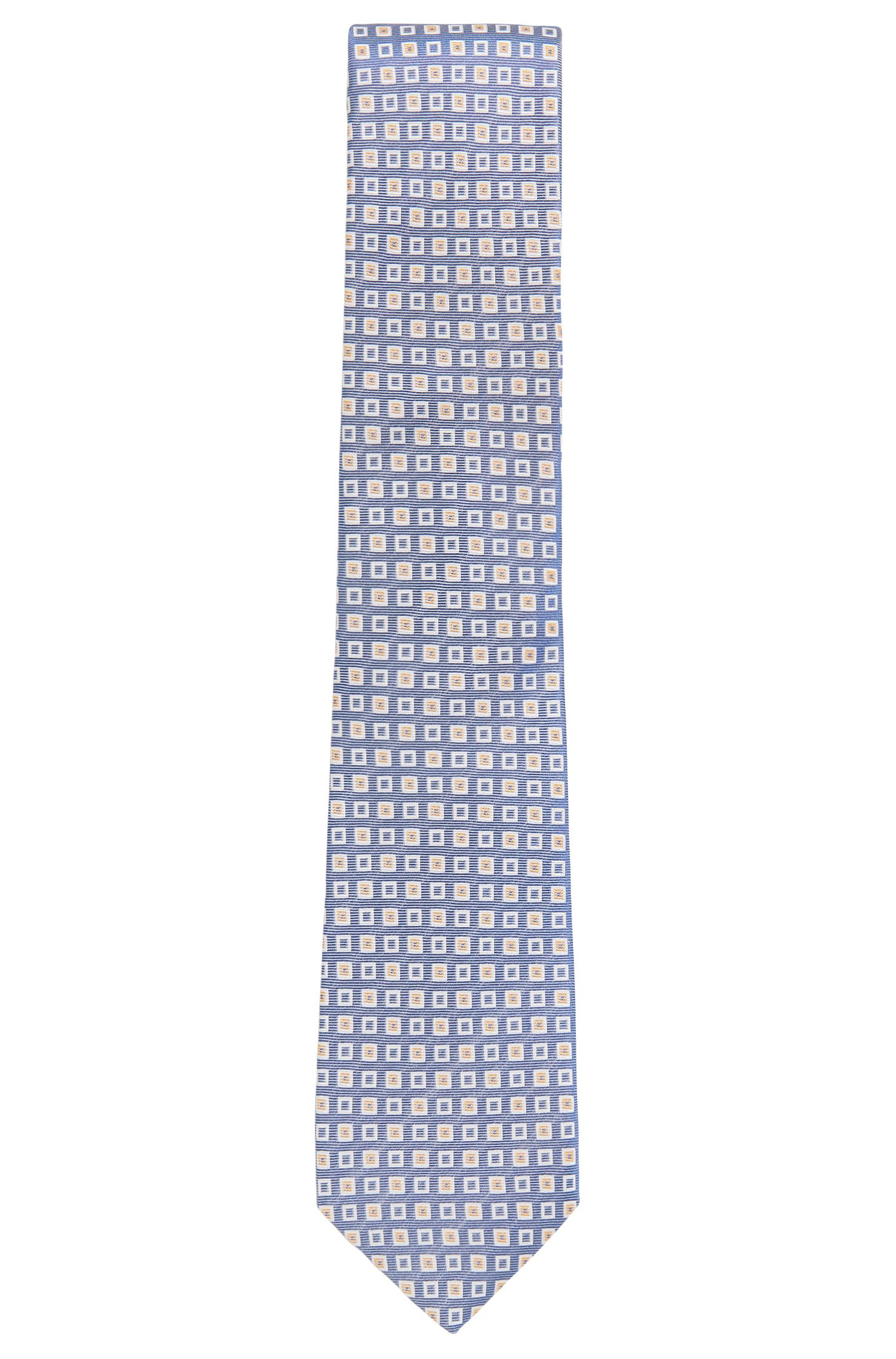 Square Embroidered Italian Silk Tie , Open Blue