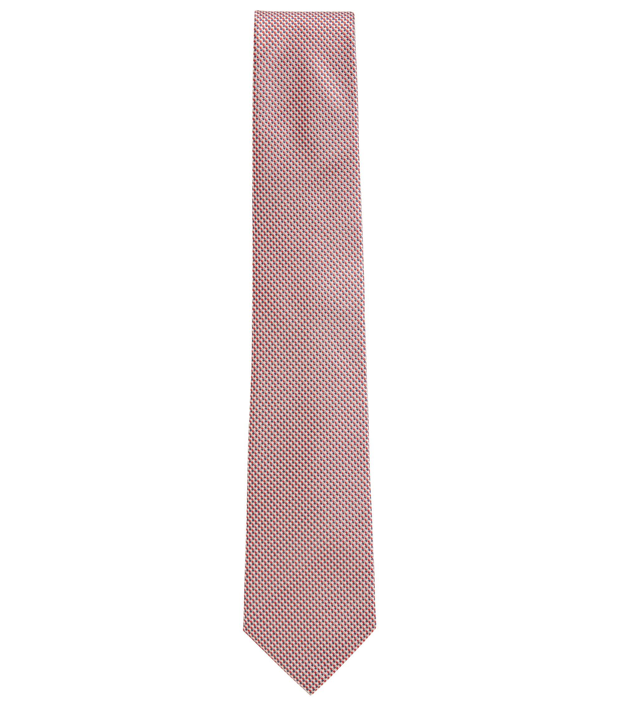 Micro-Patterned Italian Silk Tie, Dark pink