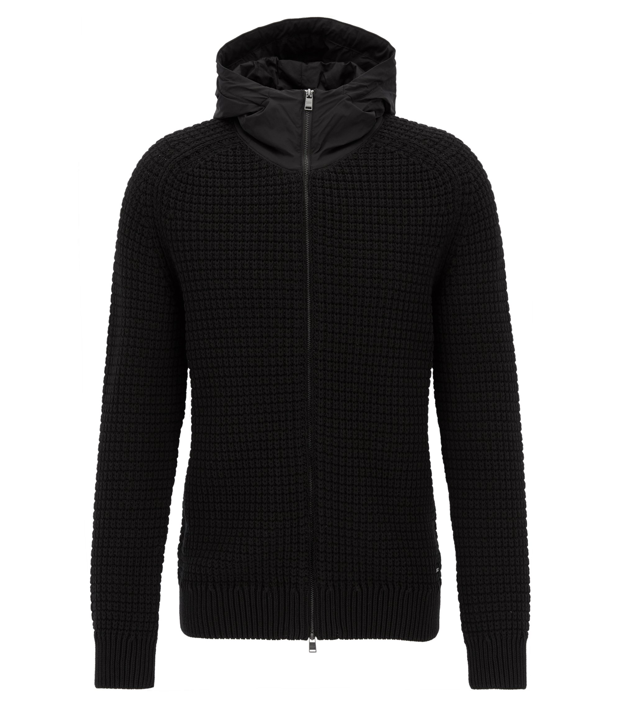 Stretch Cotton Knit Hoodie | Defranco BE, Black