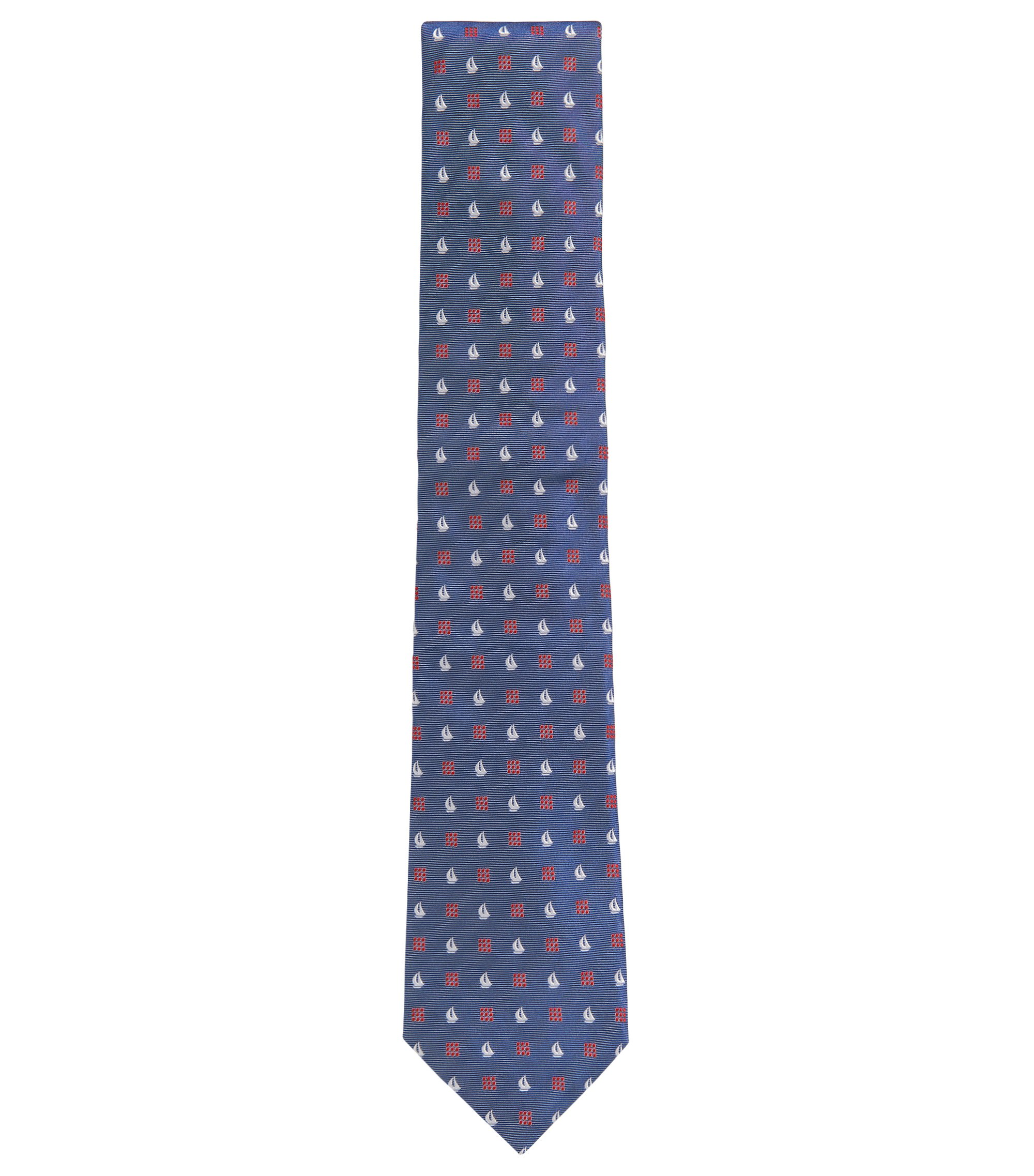 Sailboat Embroidered Italian Silk Tie , Blue