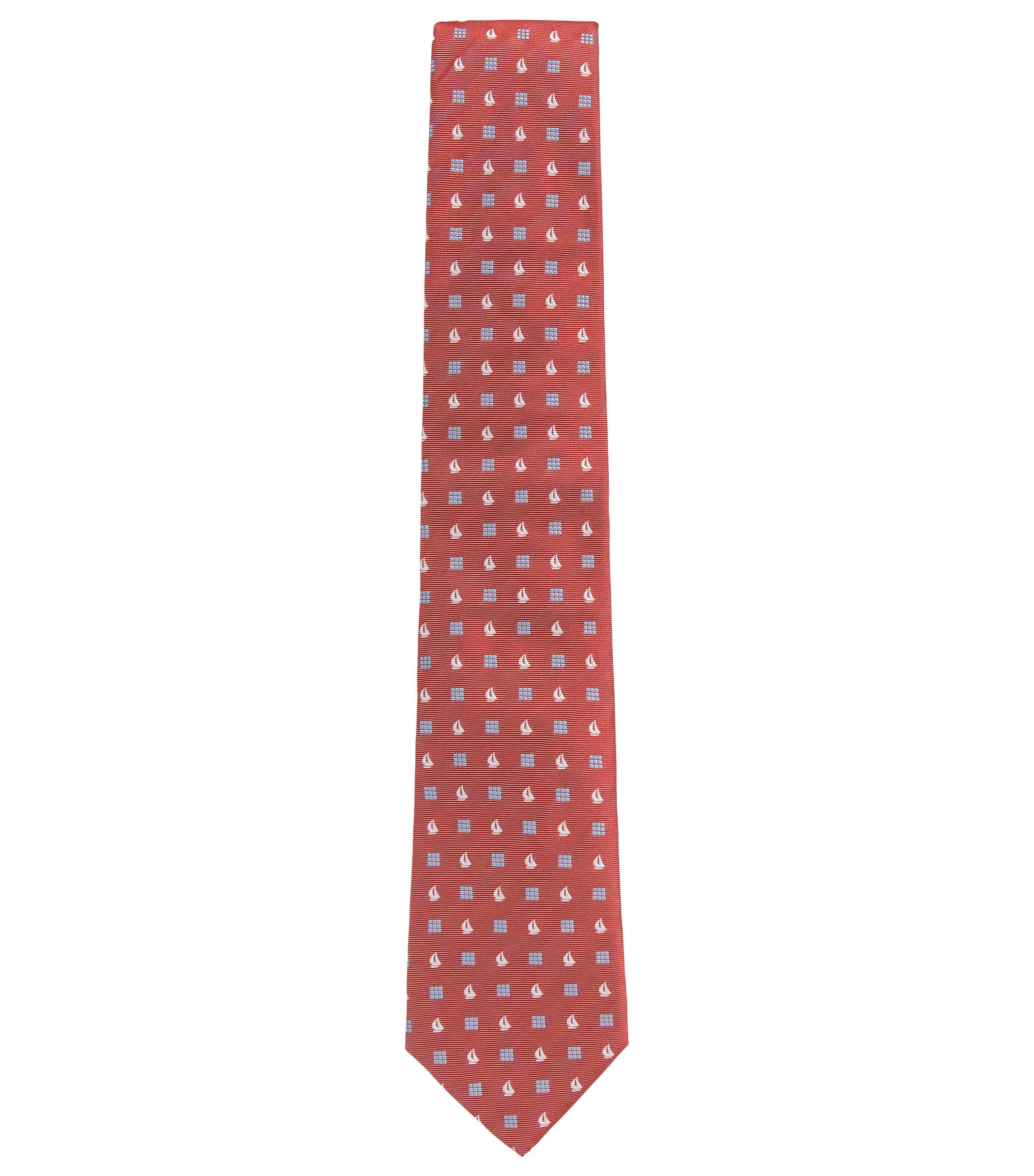 Sailboat Embroidered Italian Silk Tie , Dark pink