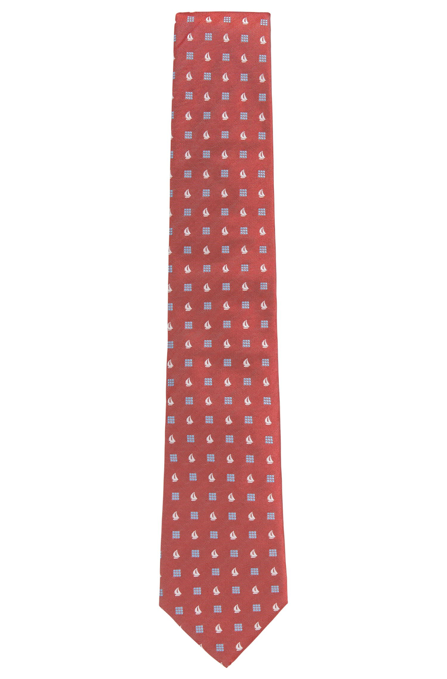 Sailboat Embroidered Italian Silk Tie , Dark pink