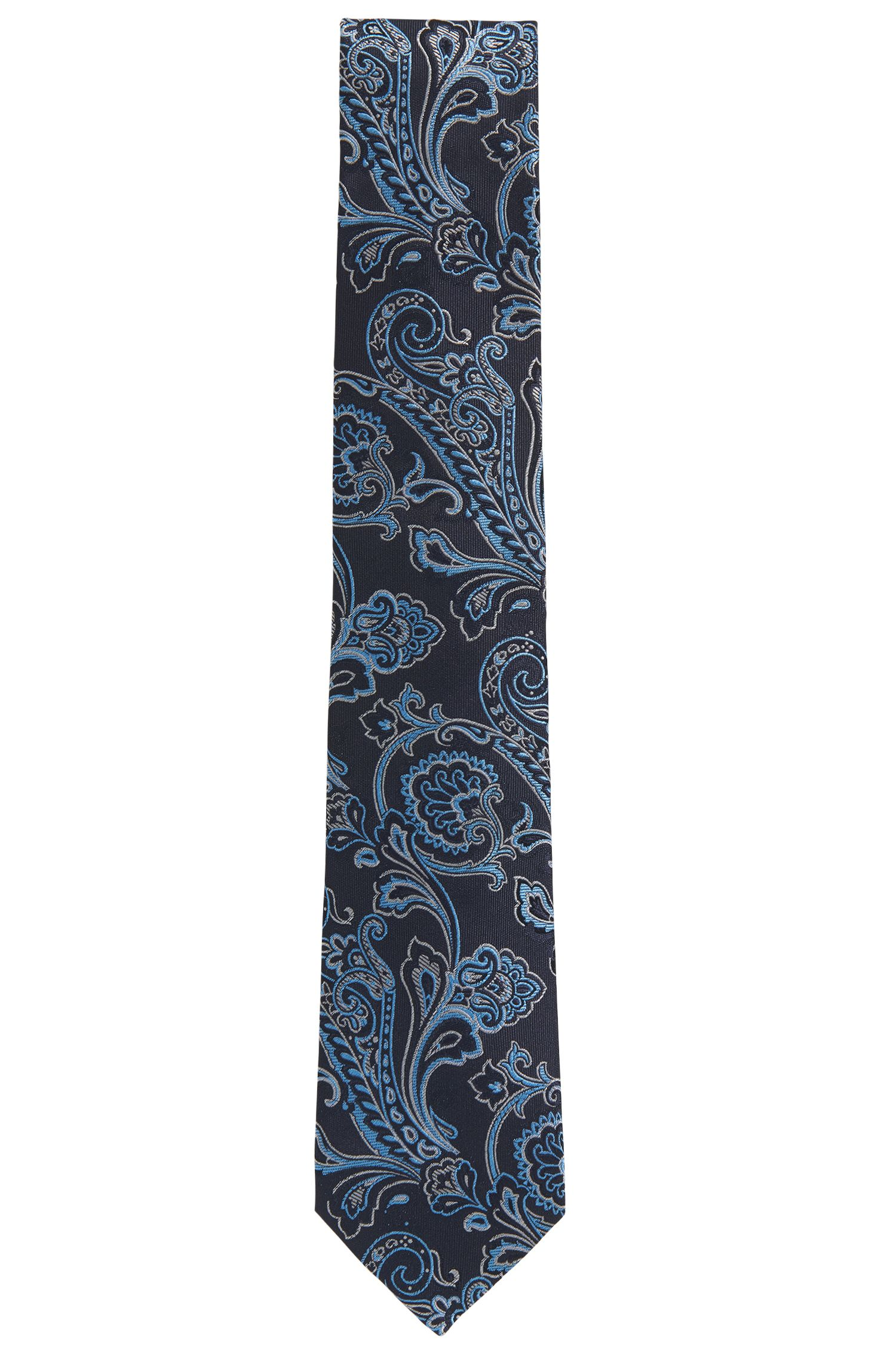 Paisley Embroidered Italian Silk Tie, Blue