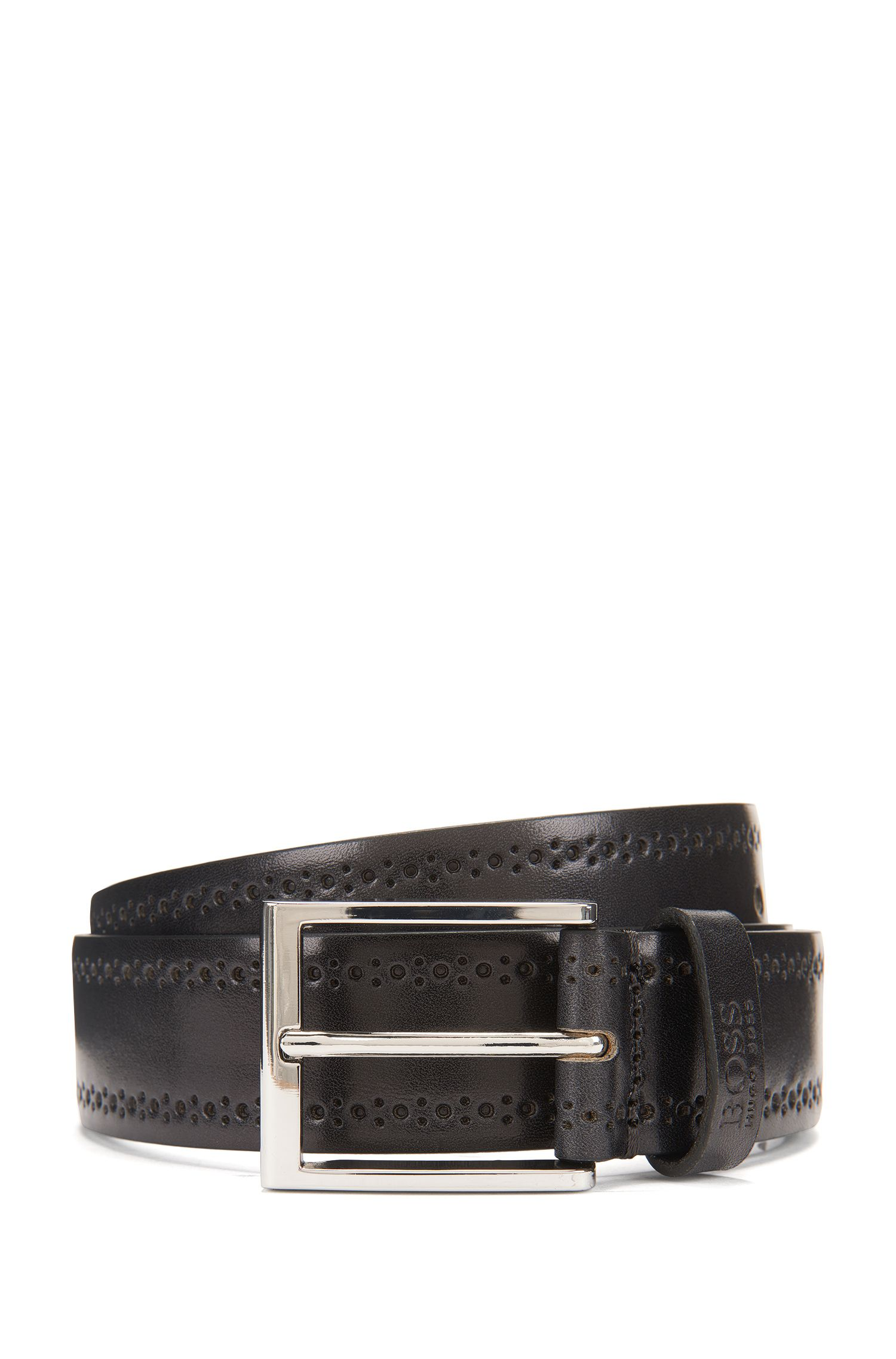 Brogue Leather Belt | Cenol, Dark Grey