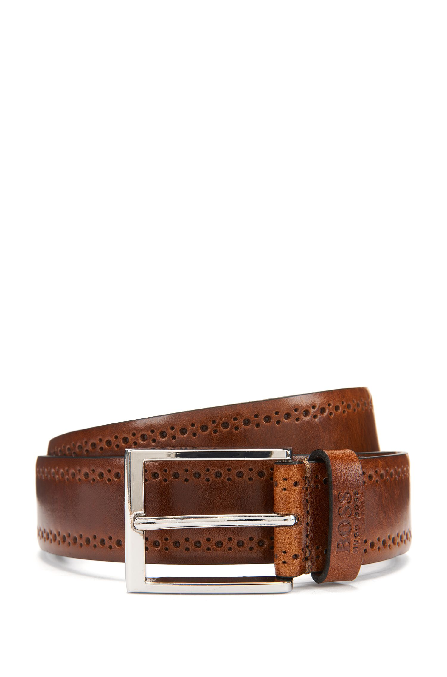 Brogue Leather Belt | Cenol, Khaki