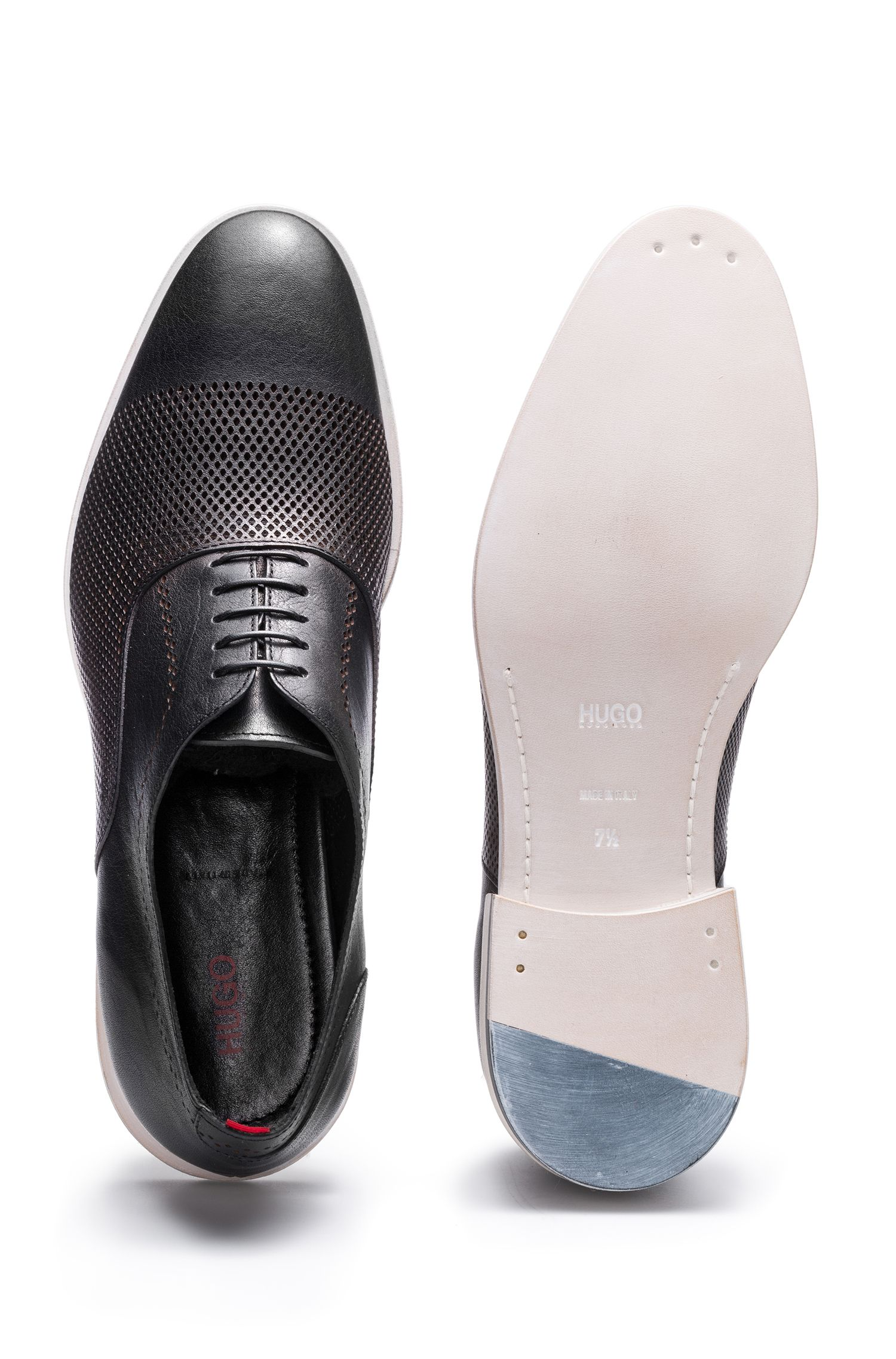 Calfskin Leather Oxford Shoes | Grafity, Black