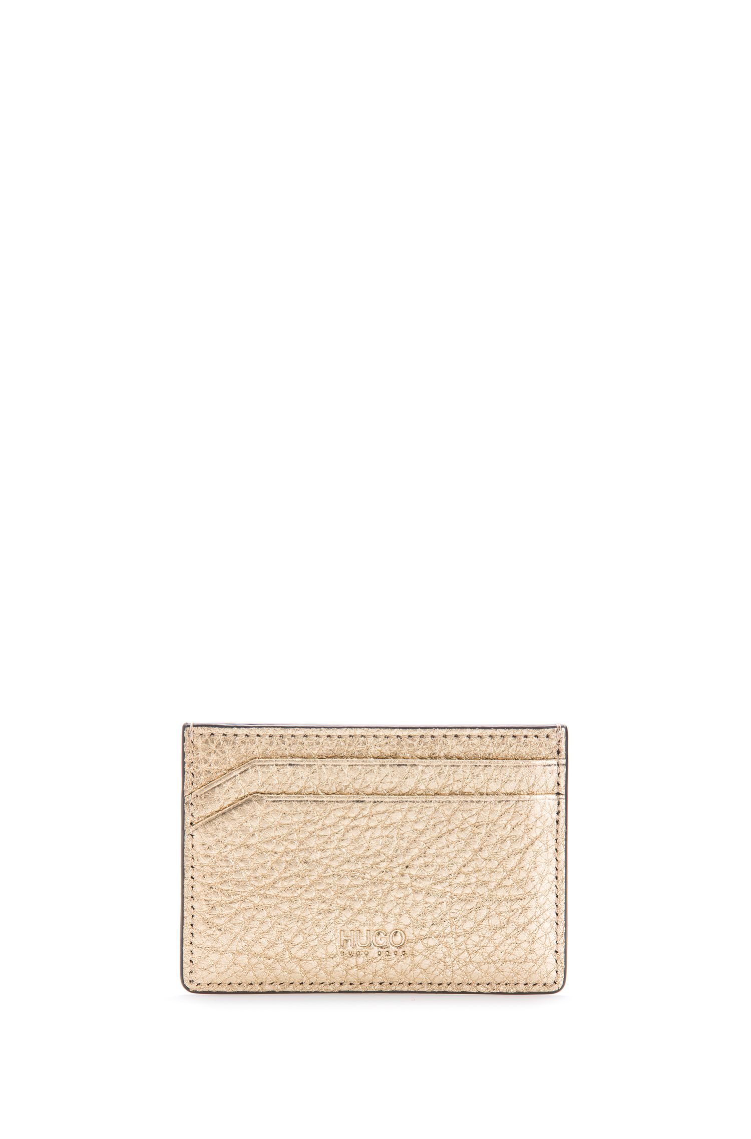 Gold-Tone Leather Card Holder, Gold