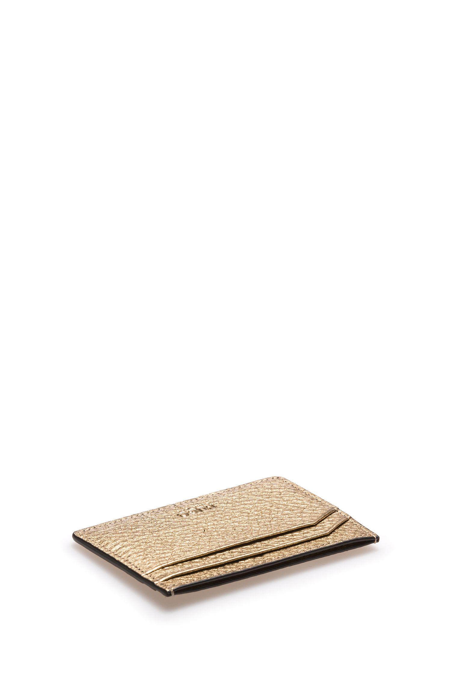 Gold-Tone Leather Card Holder