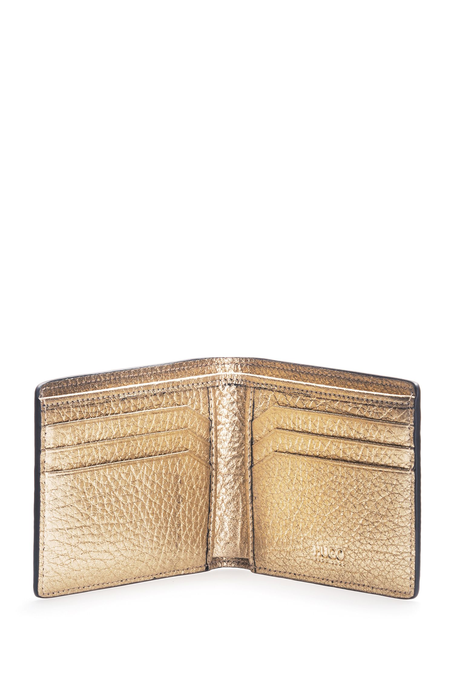 Gold-Tone Leather Billfold Wallet | Victorian LL