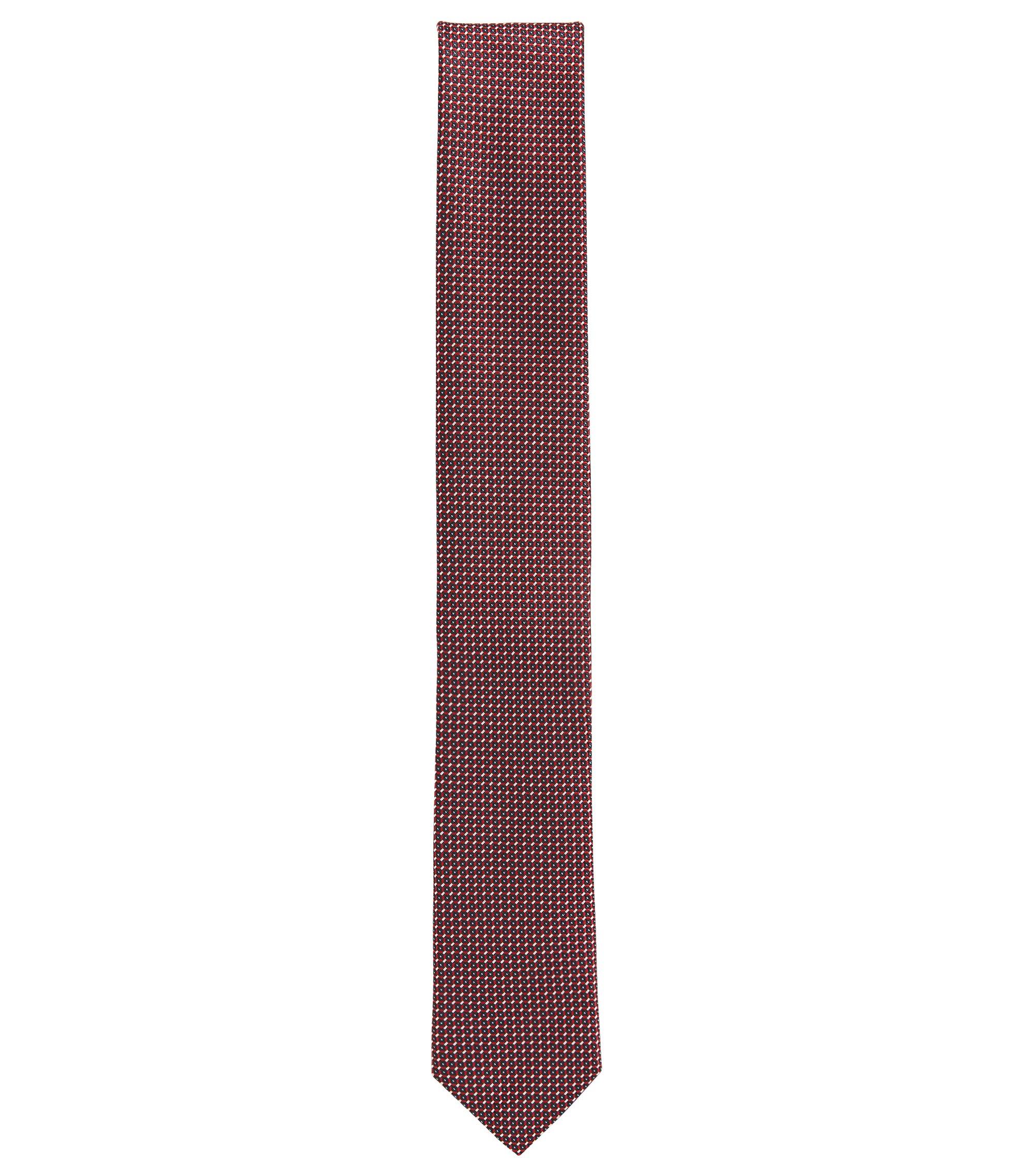 Pindot Italian Silk Slim Tie, Dark pink
