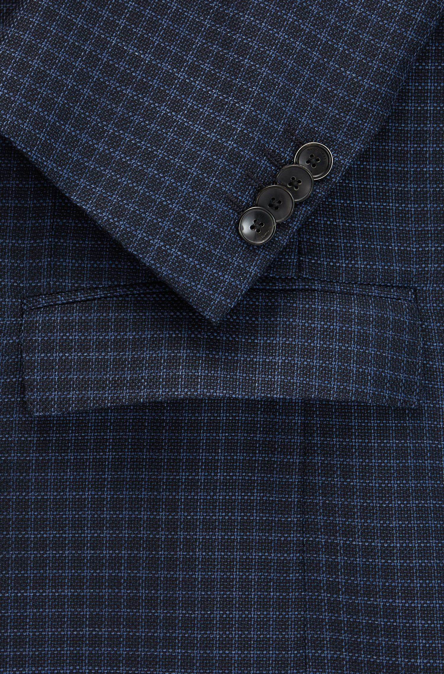 Grid Check italian Virgin Wool Sport Coat, Slim Fit | Nobis, Dark Blue