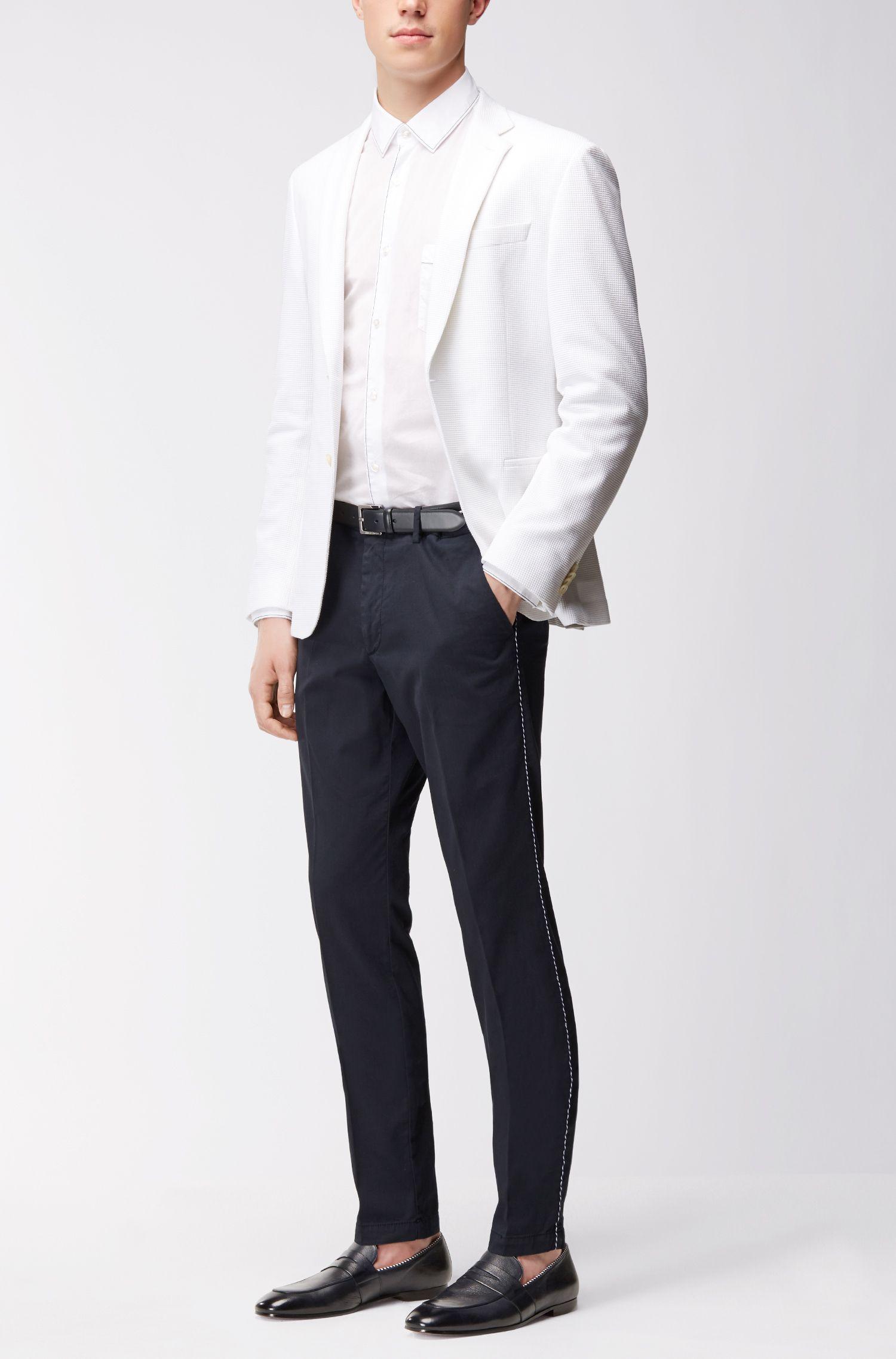 Stripe-Accent Leather Belt | Samu, Dark Blue