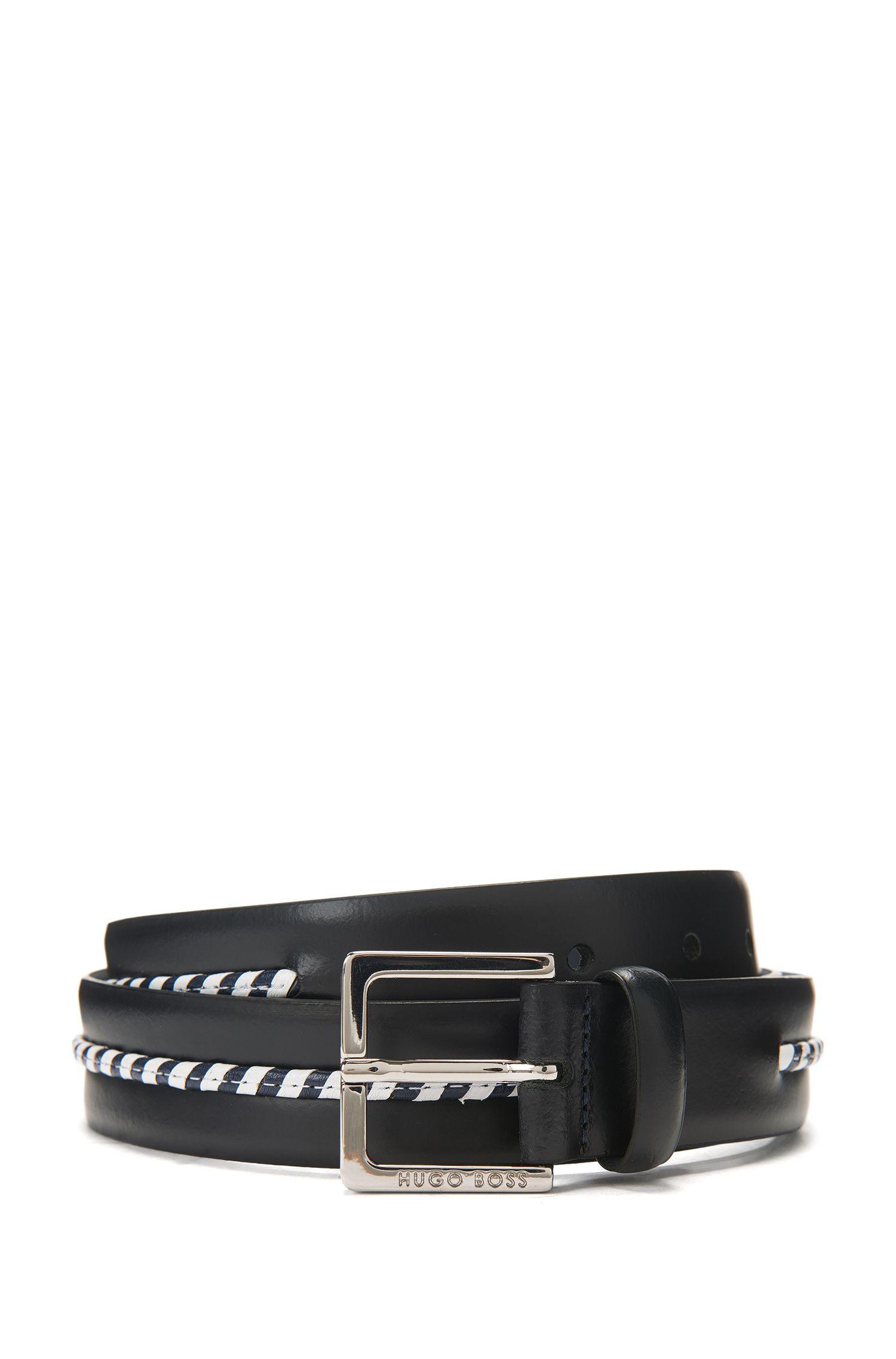 Stripe-Accent Leather Belt | Samu