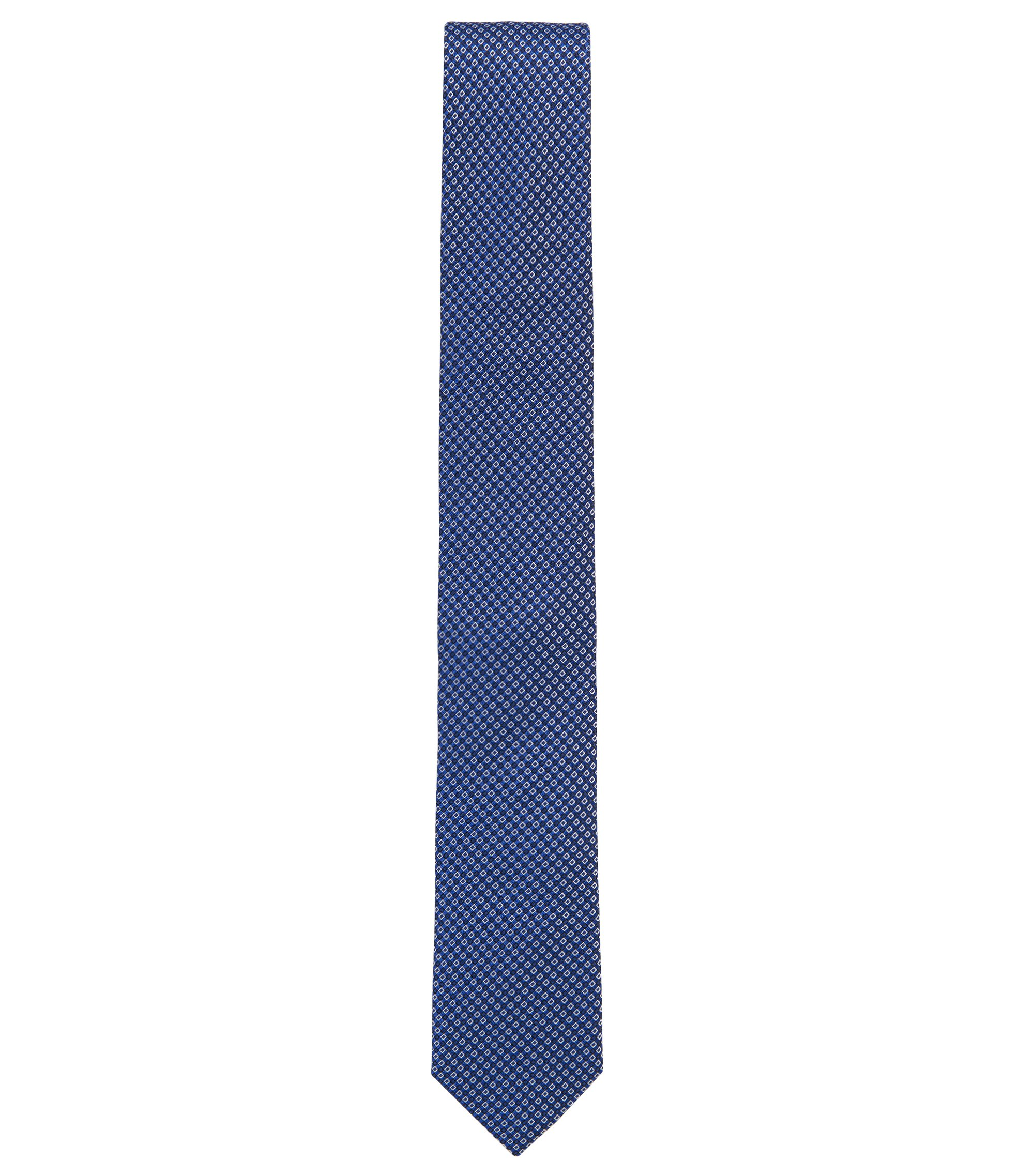 Micro-Patterned Italian Silk Slim Tie, Blue