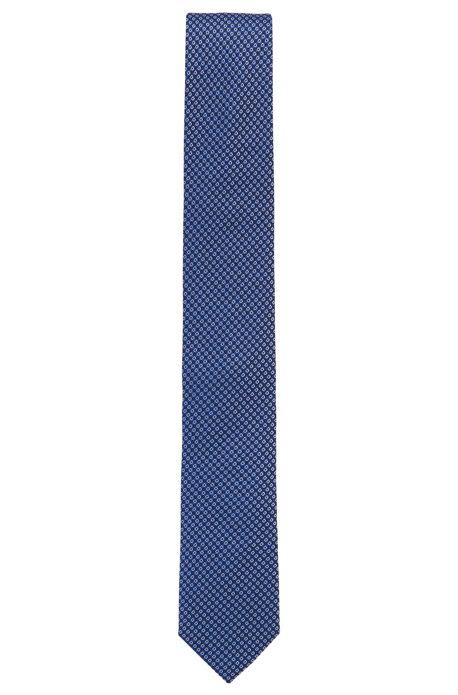 Micro-Patterned Italian Silk Slim Tie, Blue