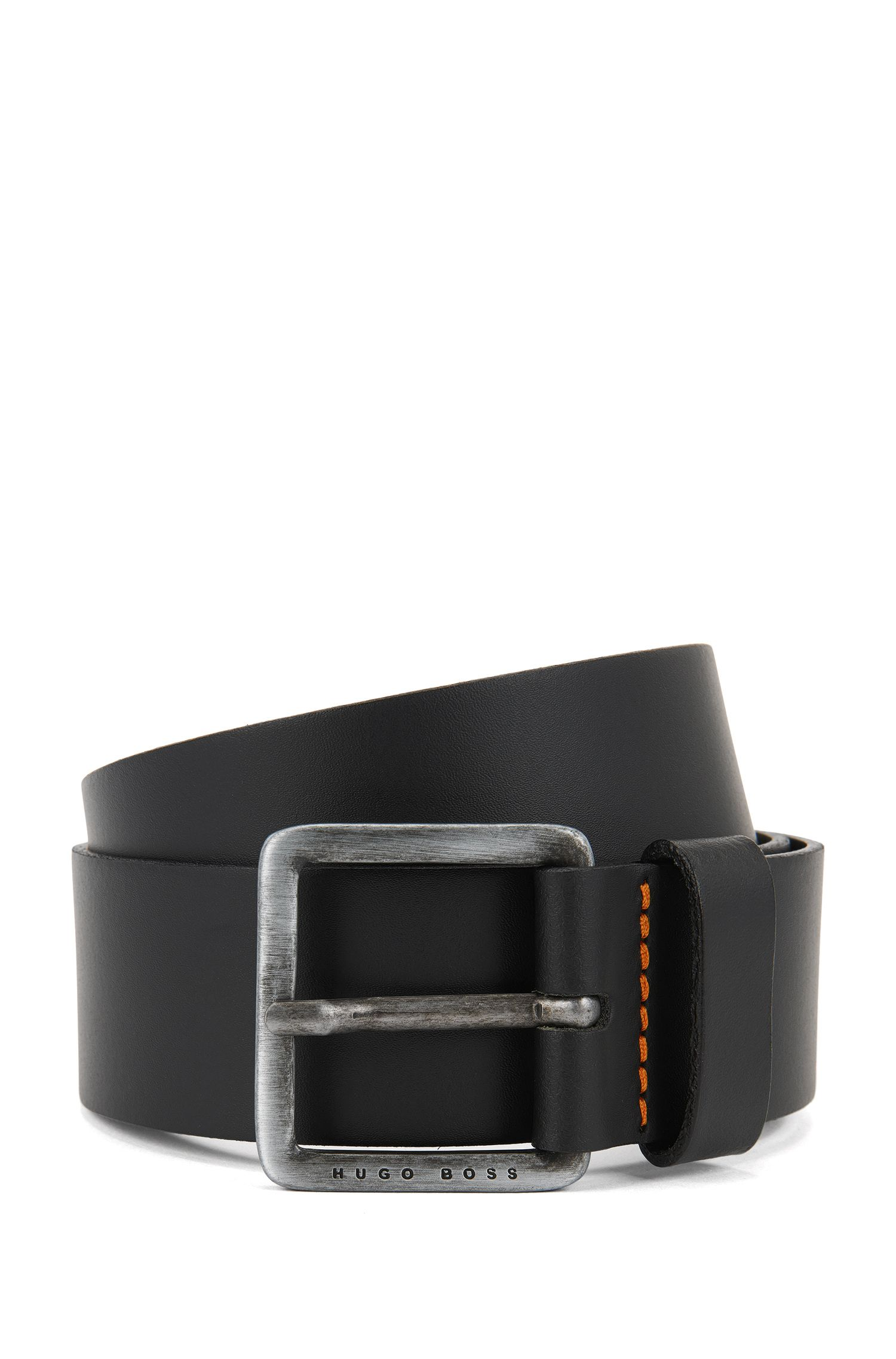 Leather belt with signature stitching