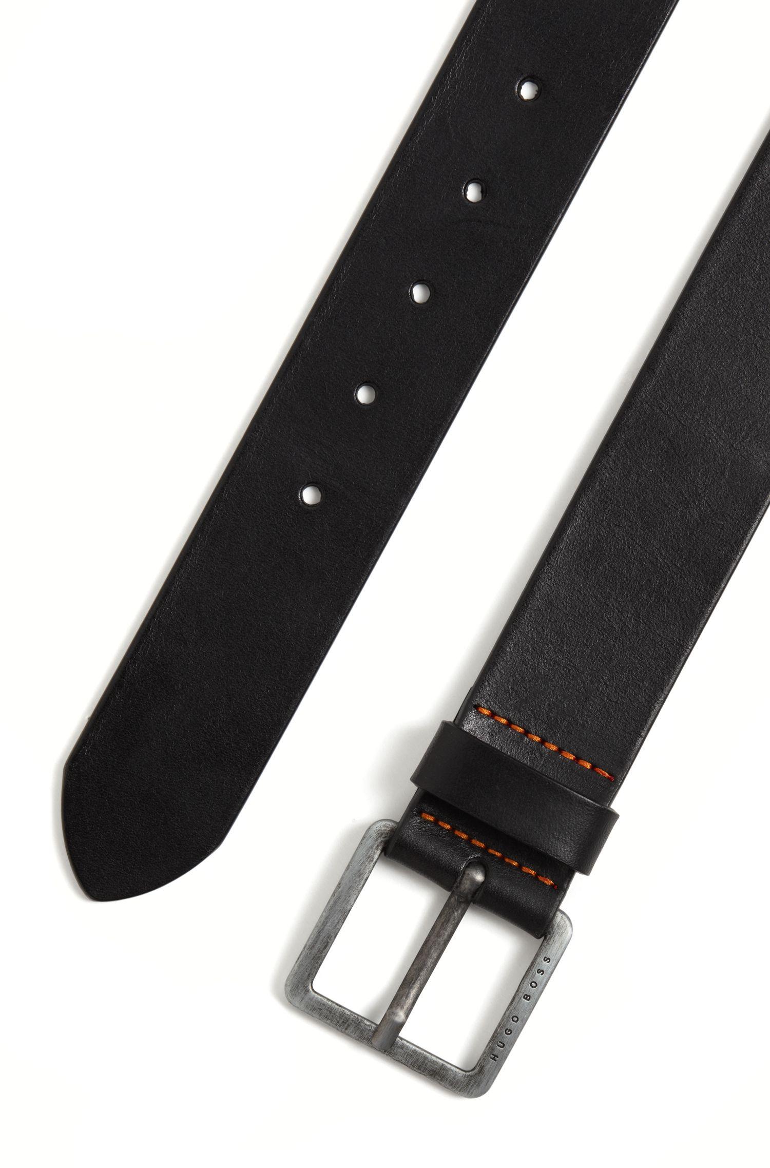 Leather belt with signature stitching, Black
