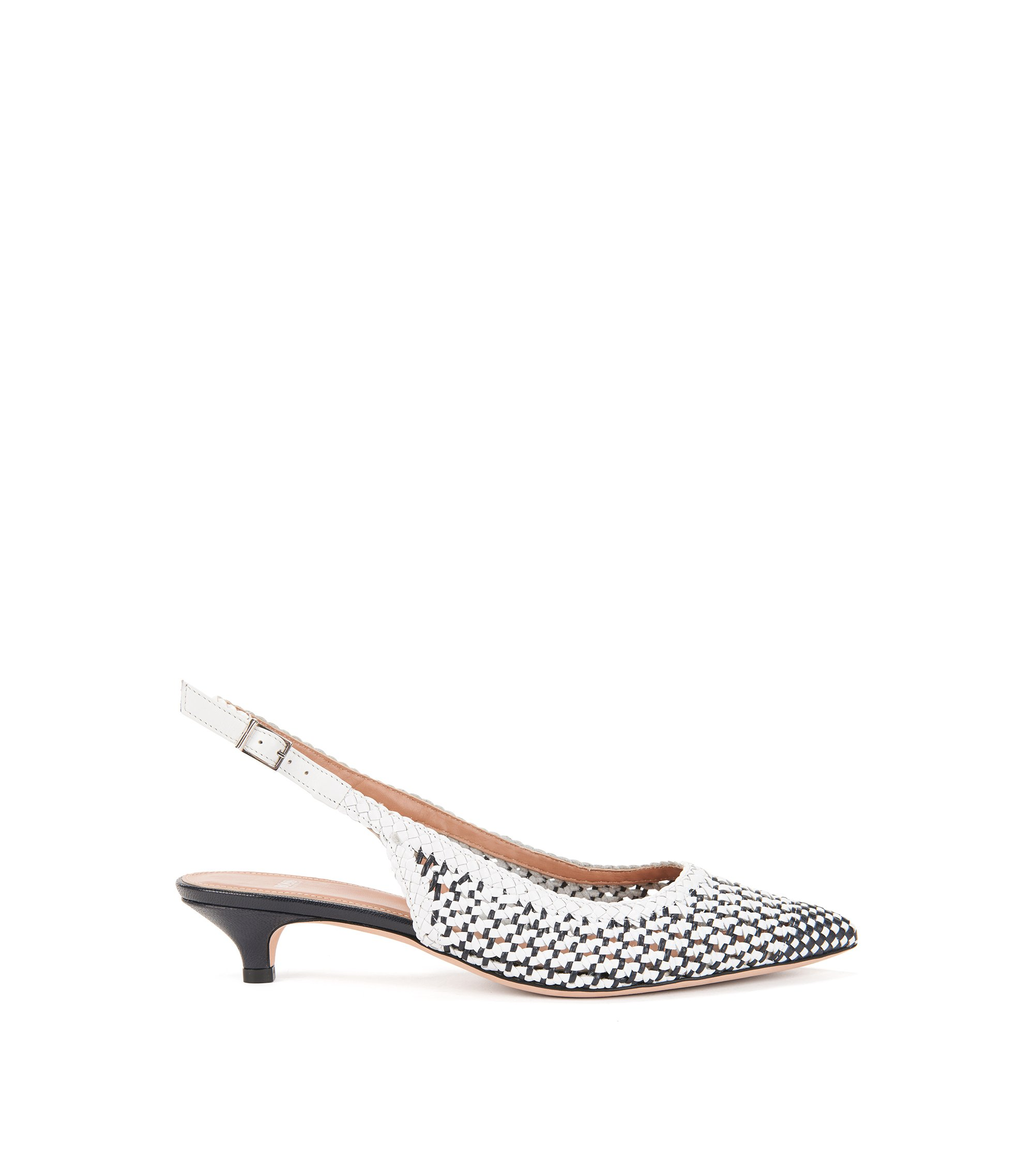 Woven Leather Slingback Pump | Eddie Sling Back, Blue