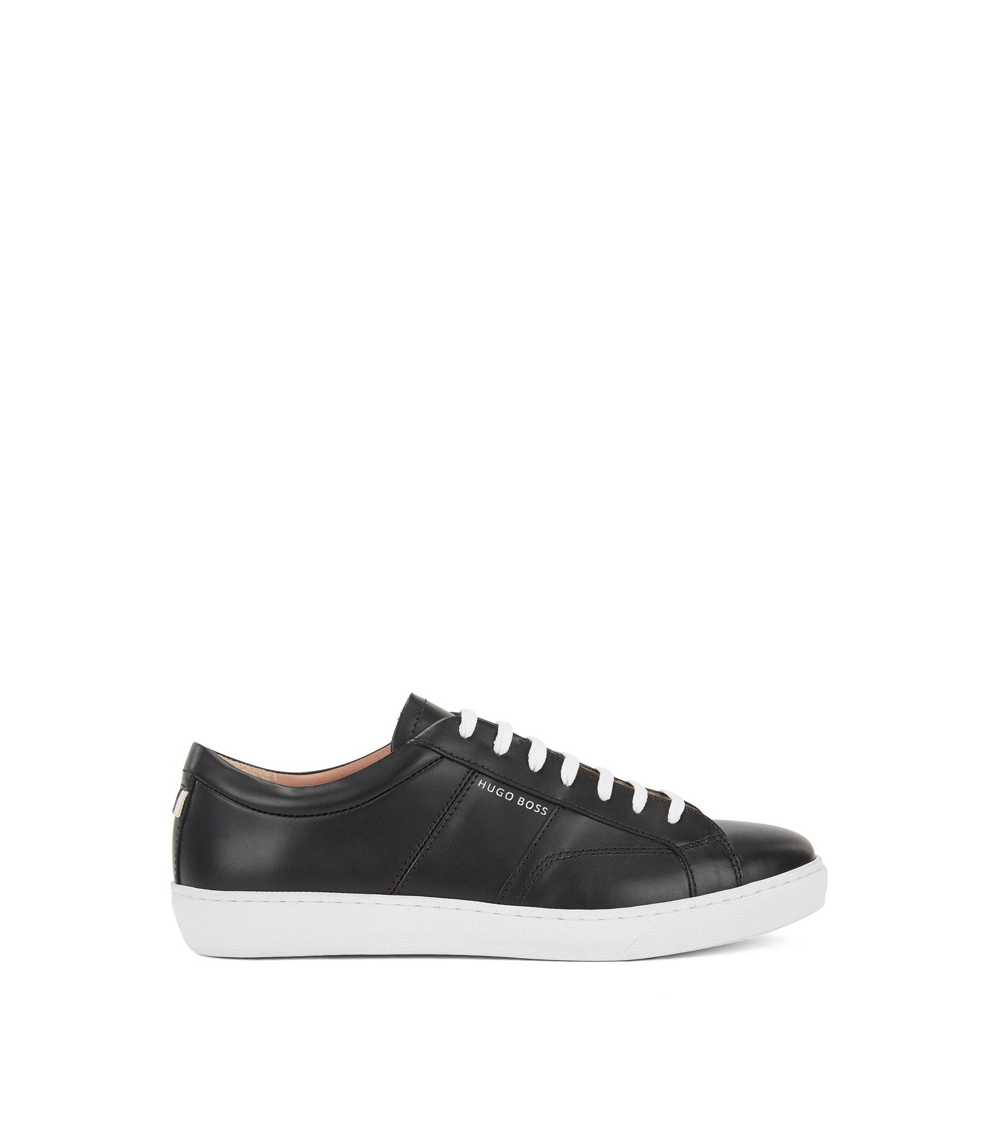 Low-top sneakers in Italian leather, Black