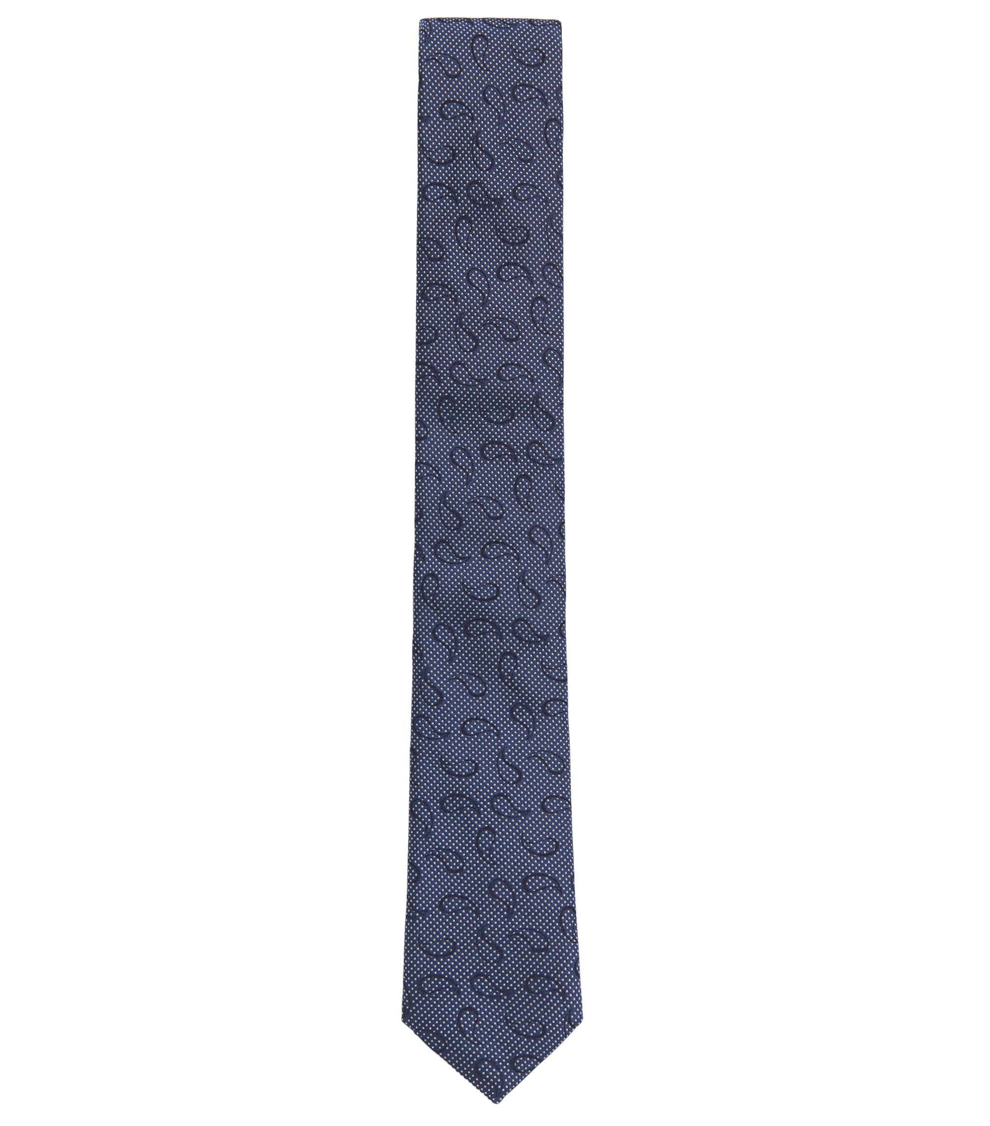 Paisley Embroidered Italian Silk Slim Tie, Blue