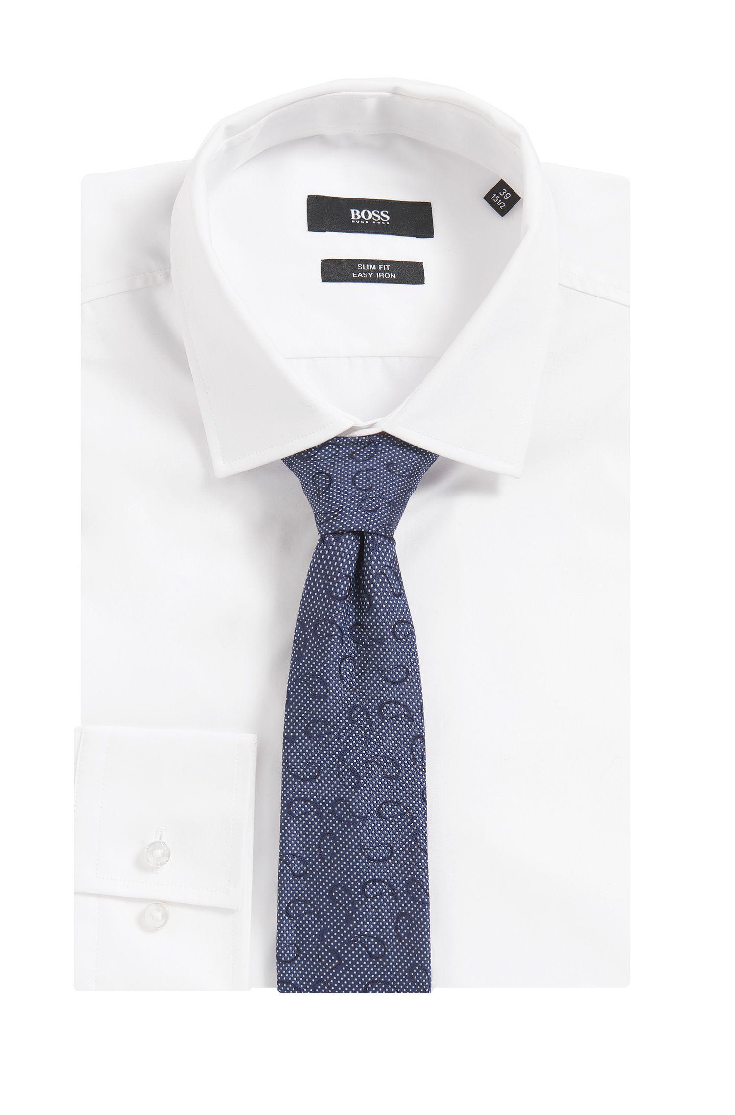 Paisley Embroidered Italian Silk Slim Tie, Blue