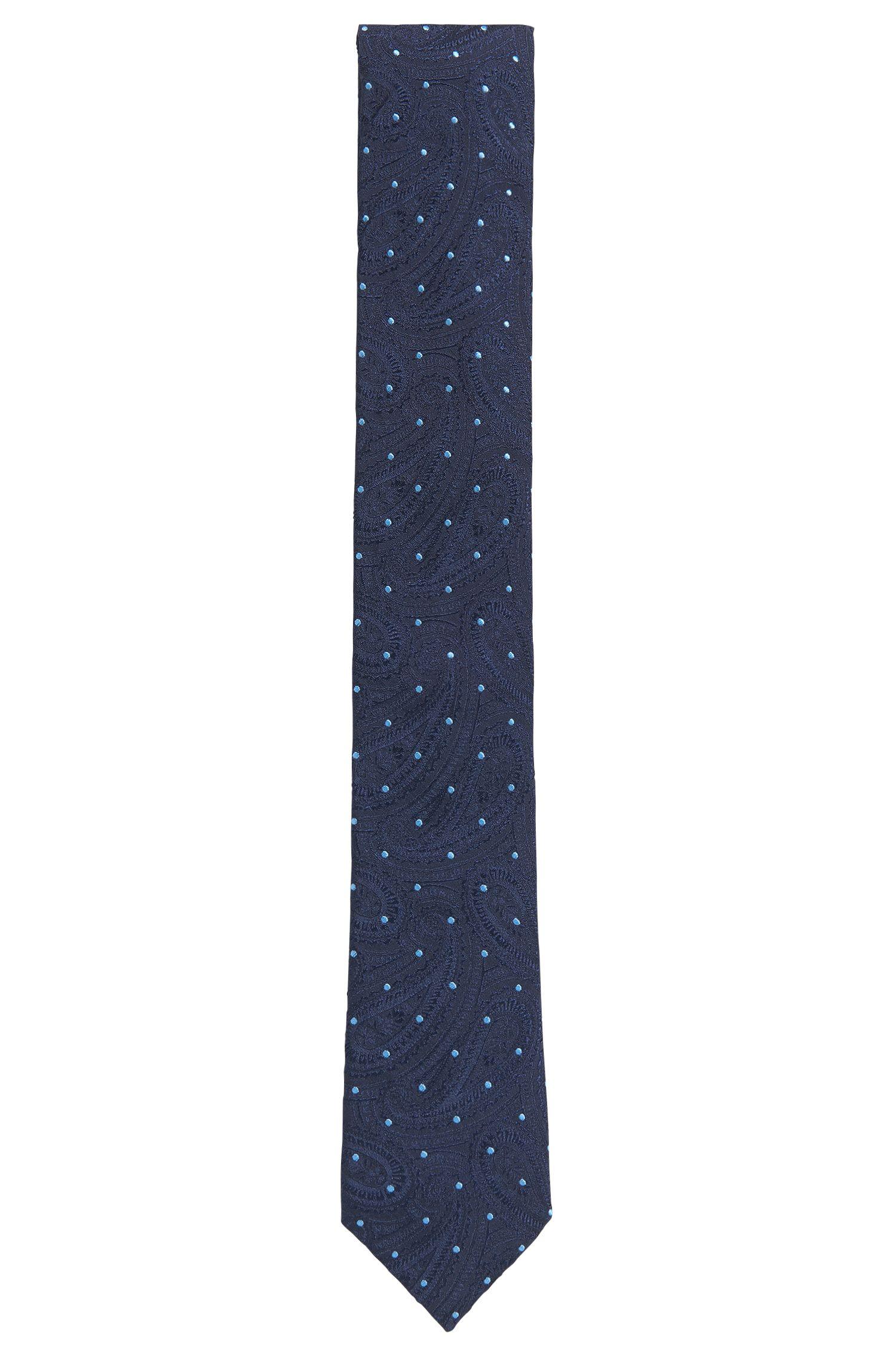 Paisley Polka Dot Italian Silk Slim Tie , Dark Blue