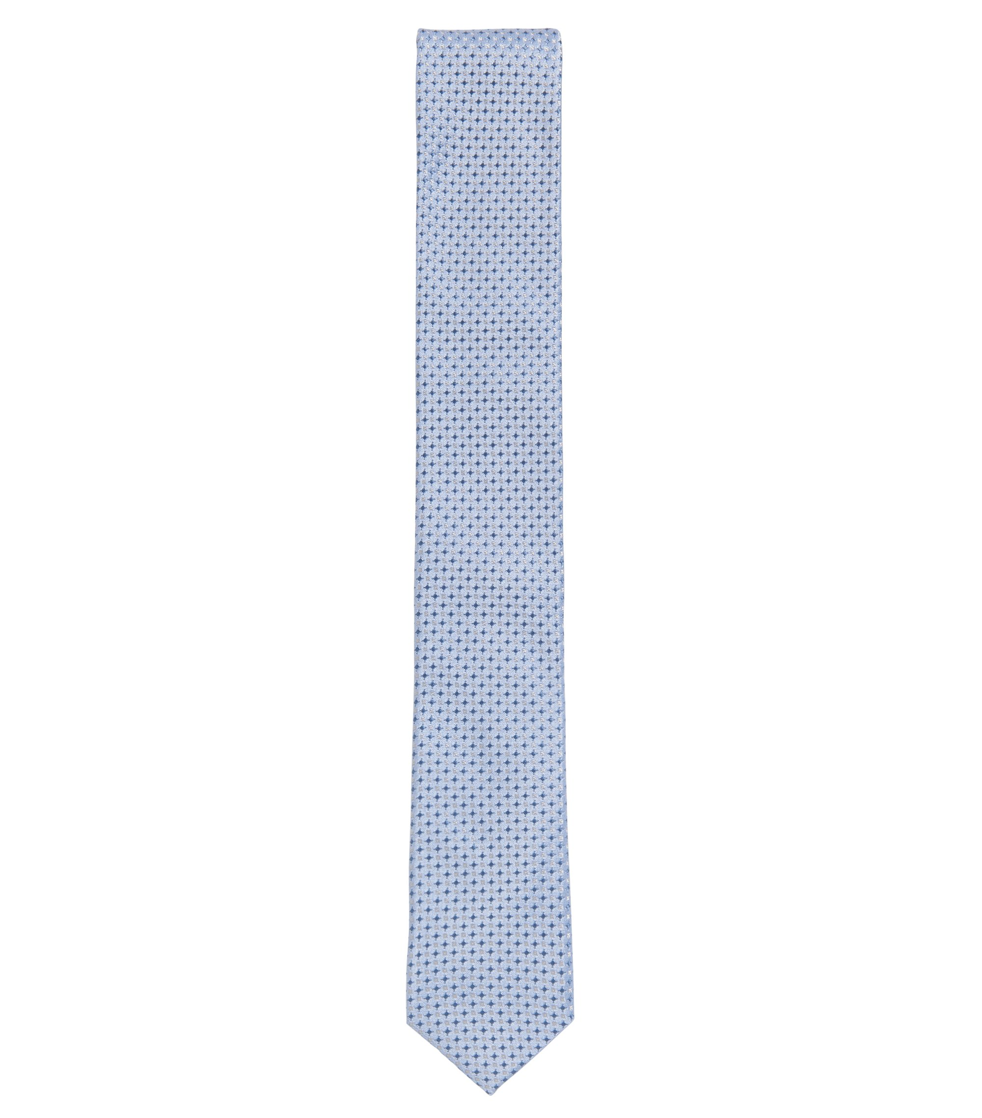Patterned Italian Silk Slim Tie , Dark Blue