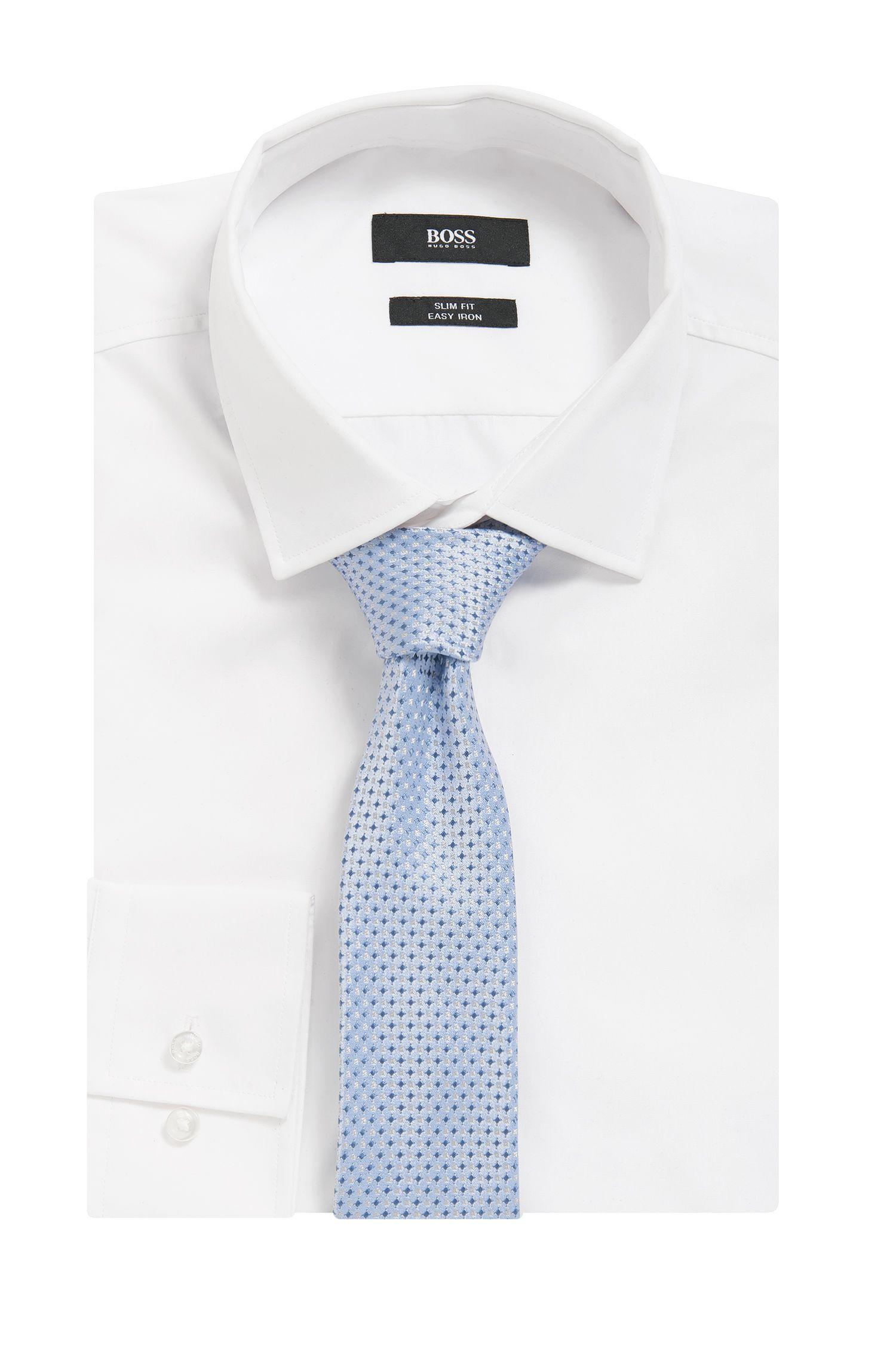 Patterned Italian Silk Slim Tie , Dark Blue