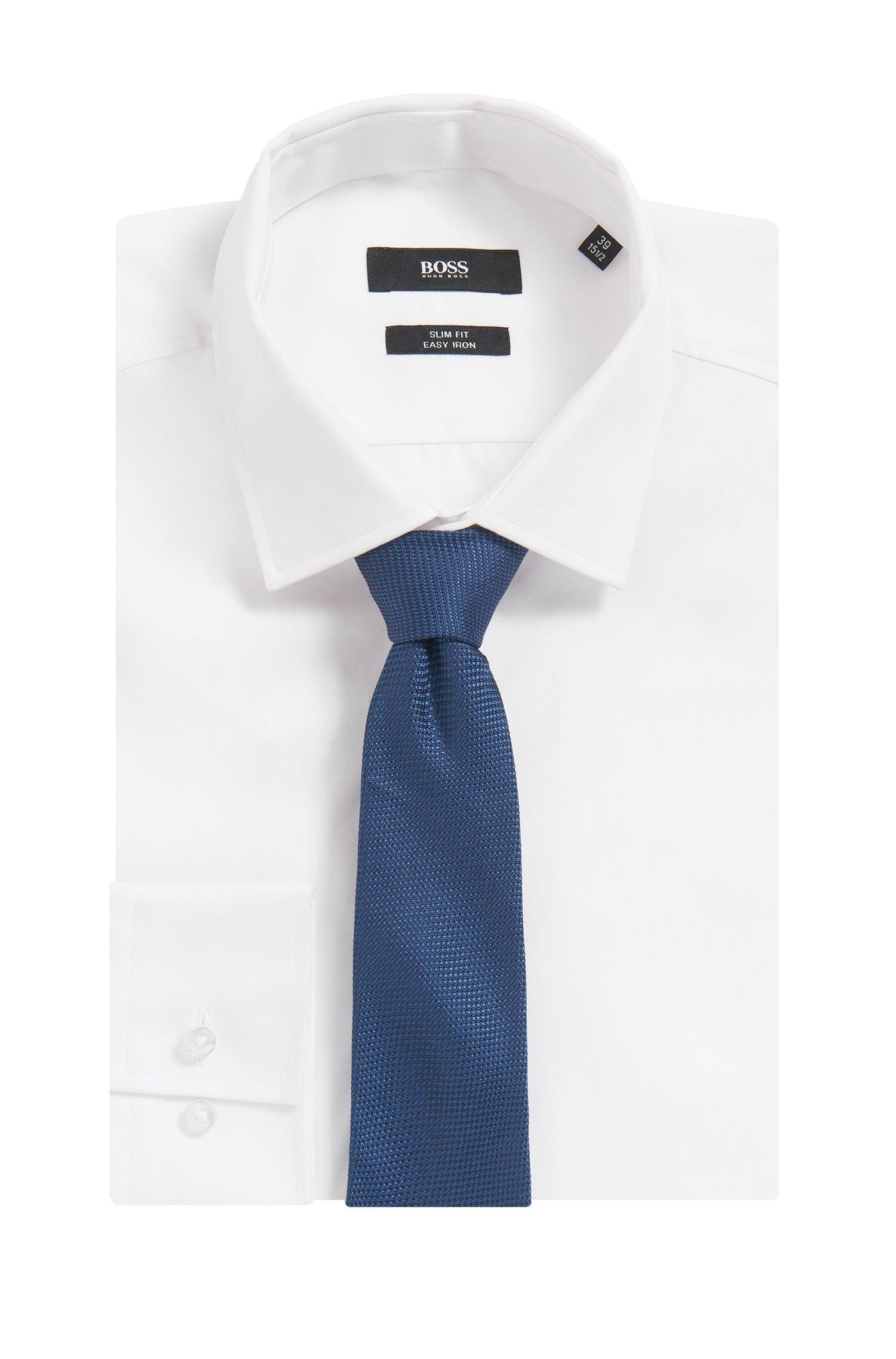Nailhead Italian Silk Slim Tie, Open Blue