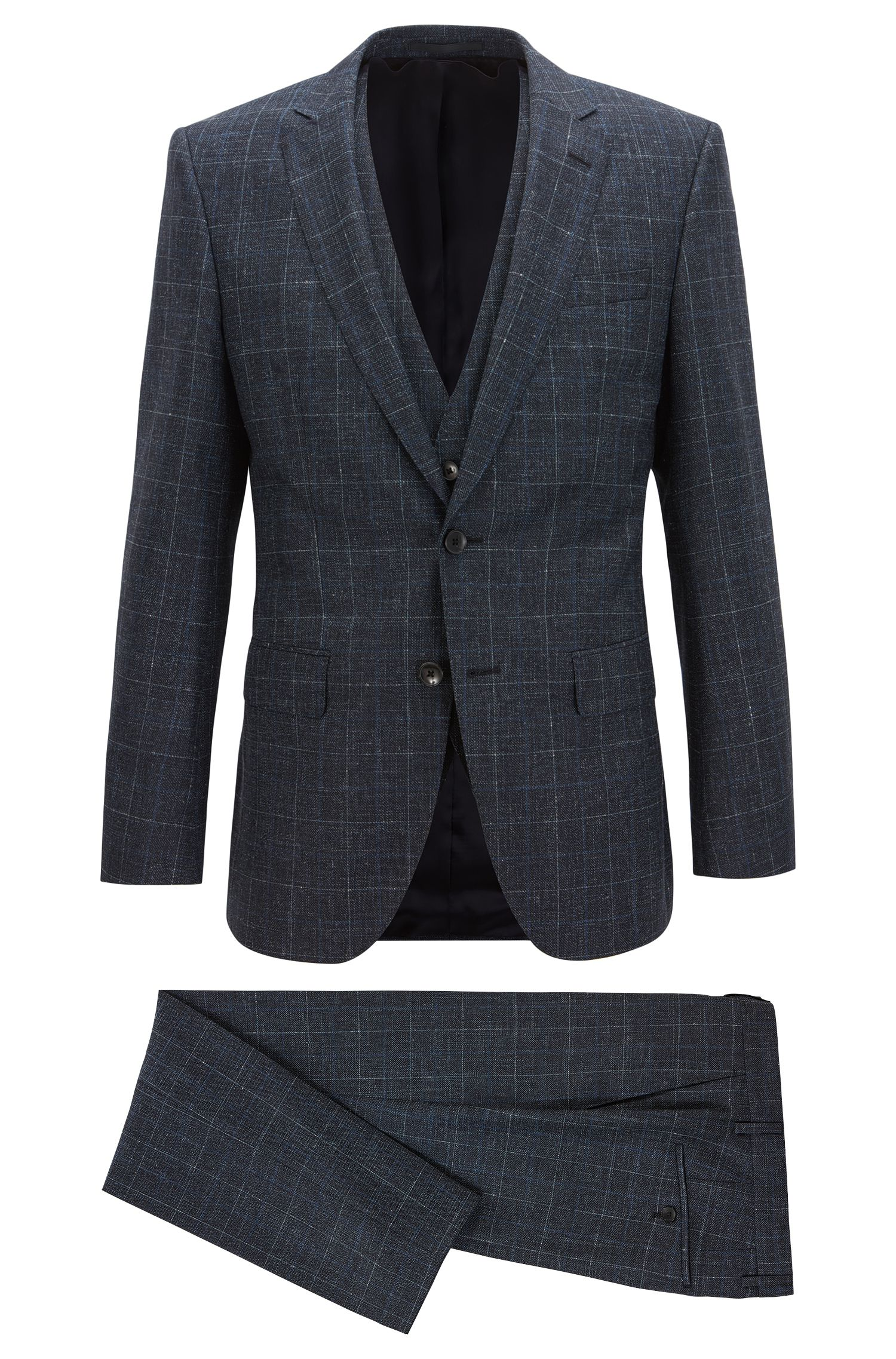 Virgin Wool Blend 3-Piece Suit, Slim Fit | Huge/Genius WE