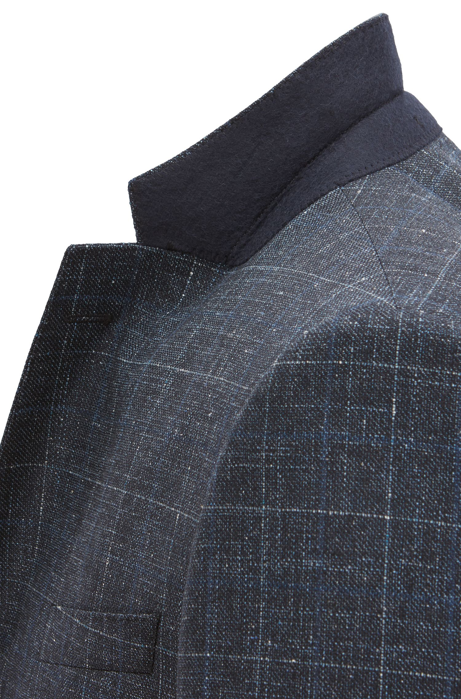 Virgin Wool Blend 3-Piece Suit, Slim Fit | Huge/Genius WE, Dark Blue