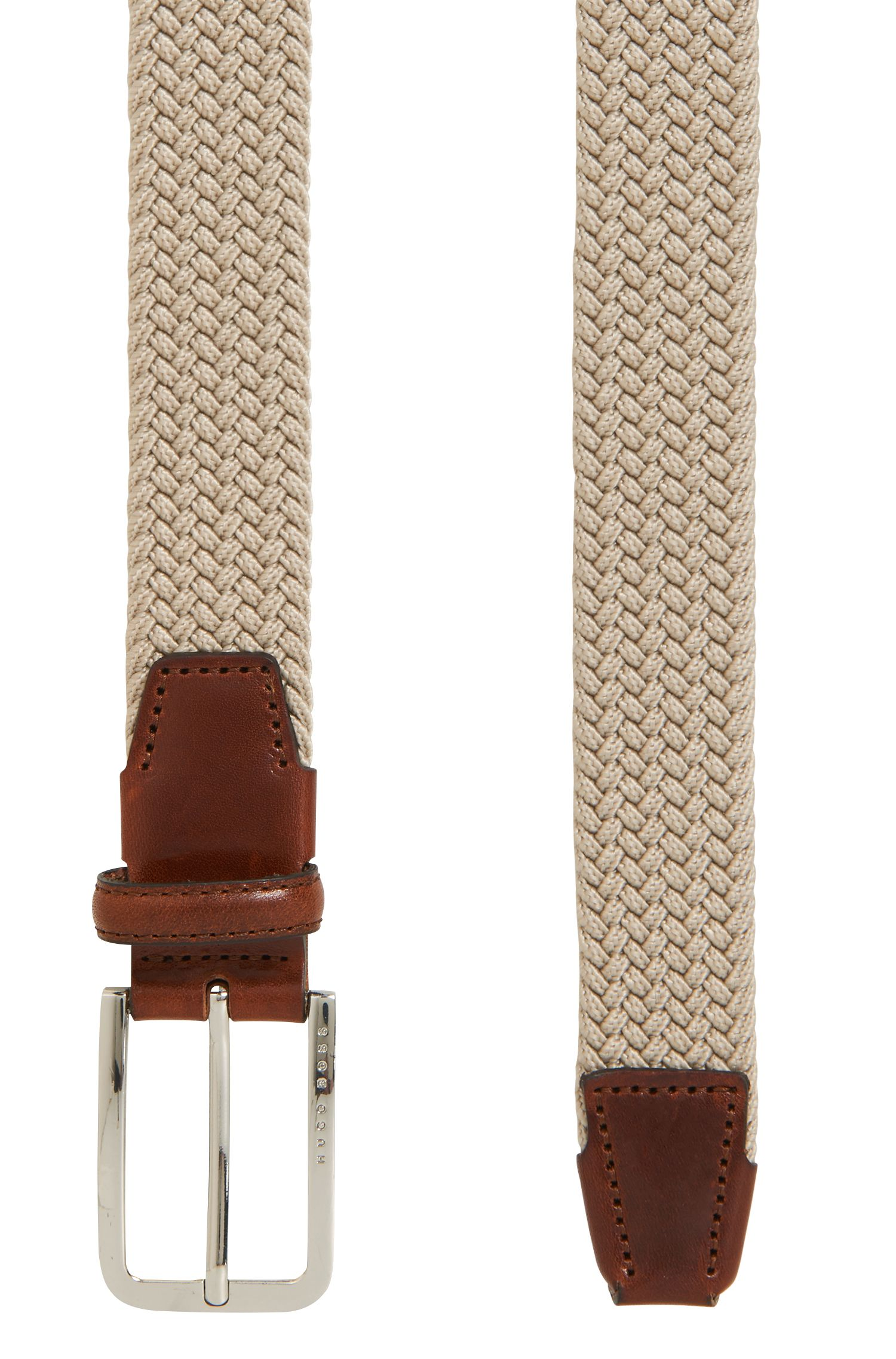 Woven belt with polished metal hardware, Light Beige