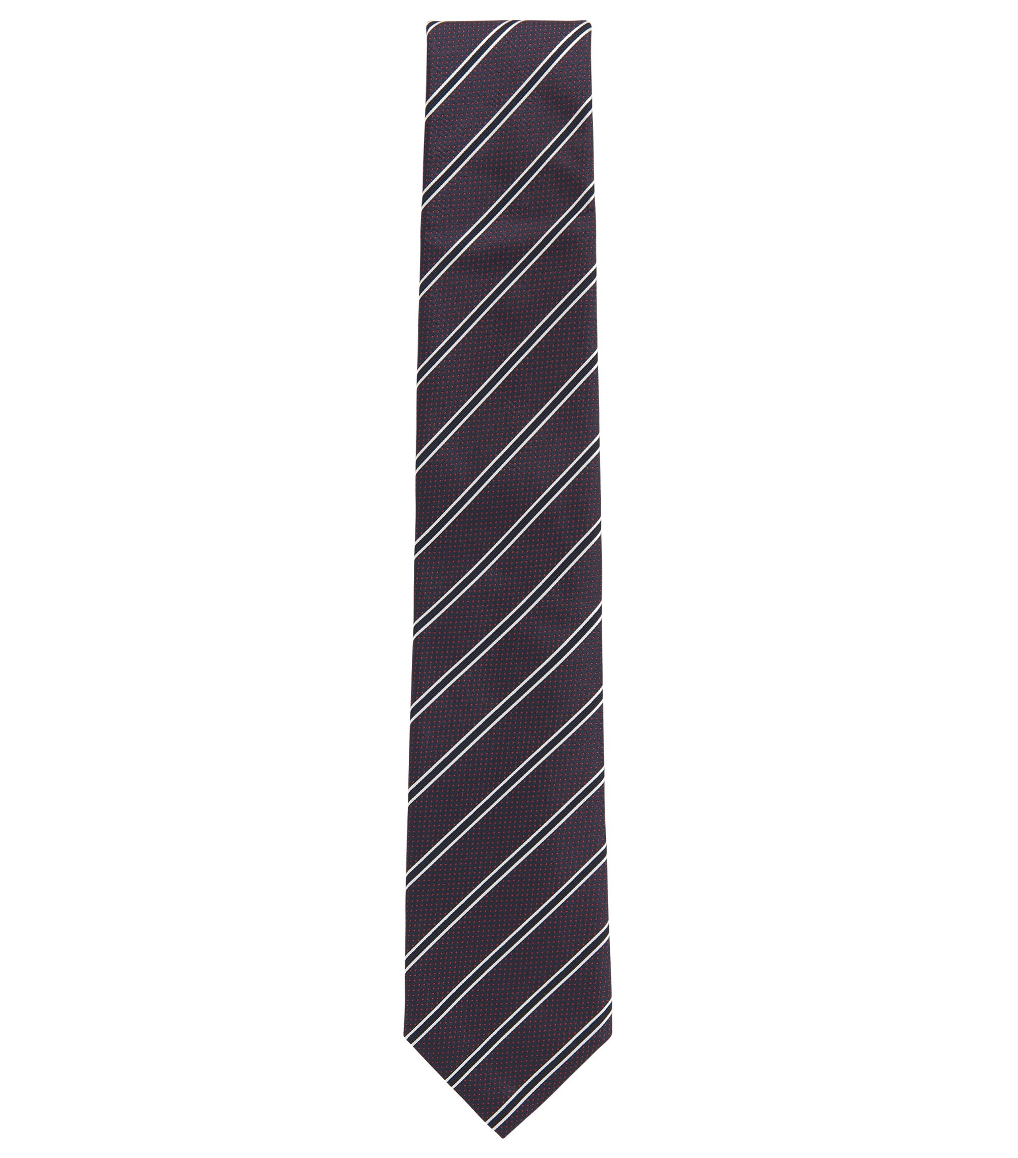 Striped Italian Silk Tie, Dark pink