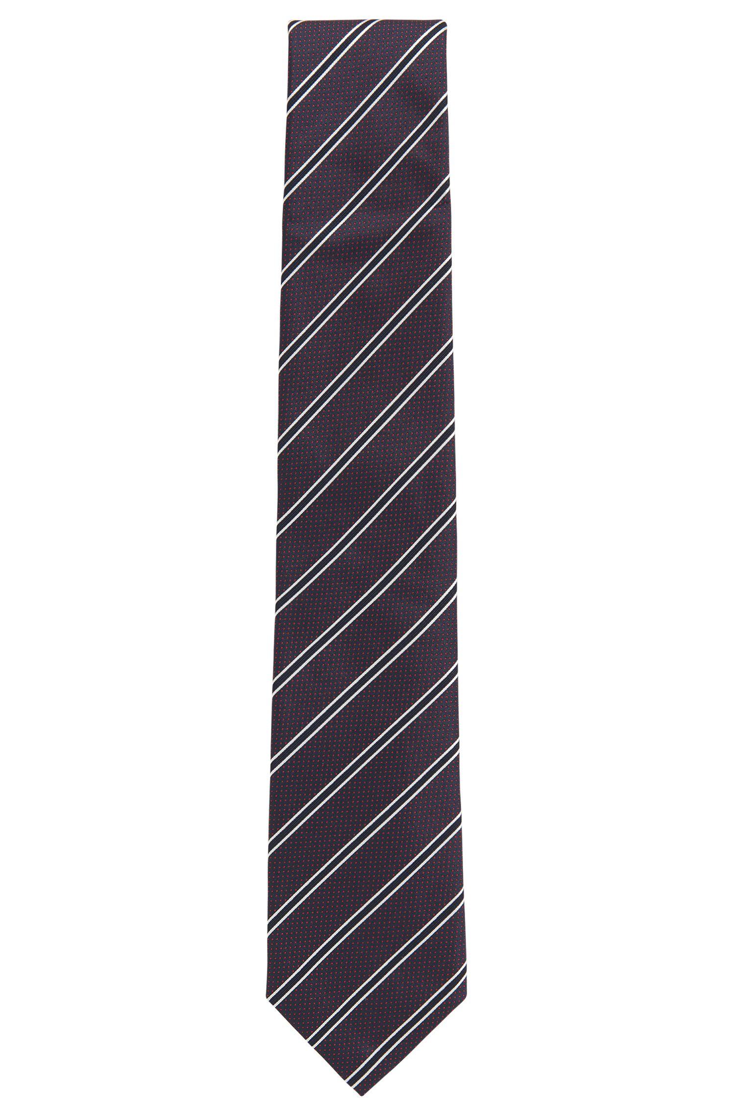 Striped Italian Silk Tie, Dark pink