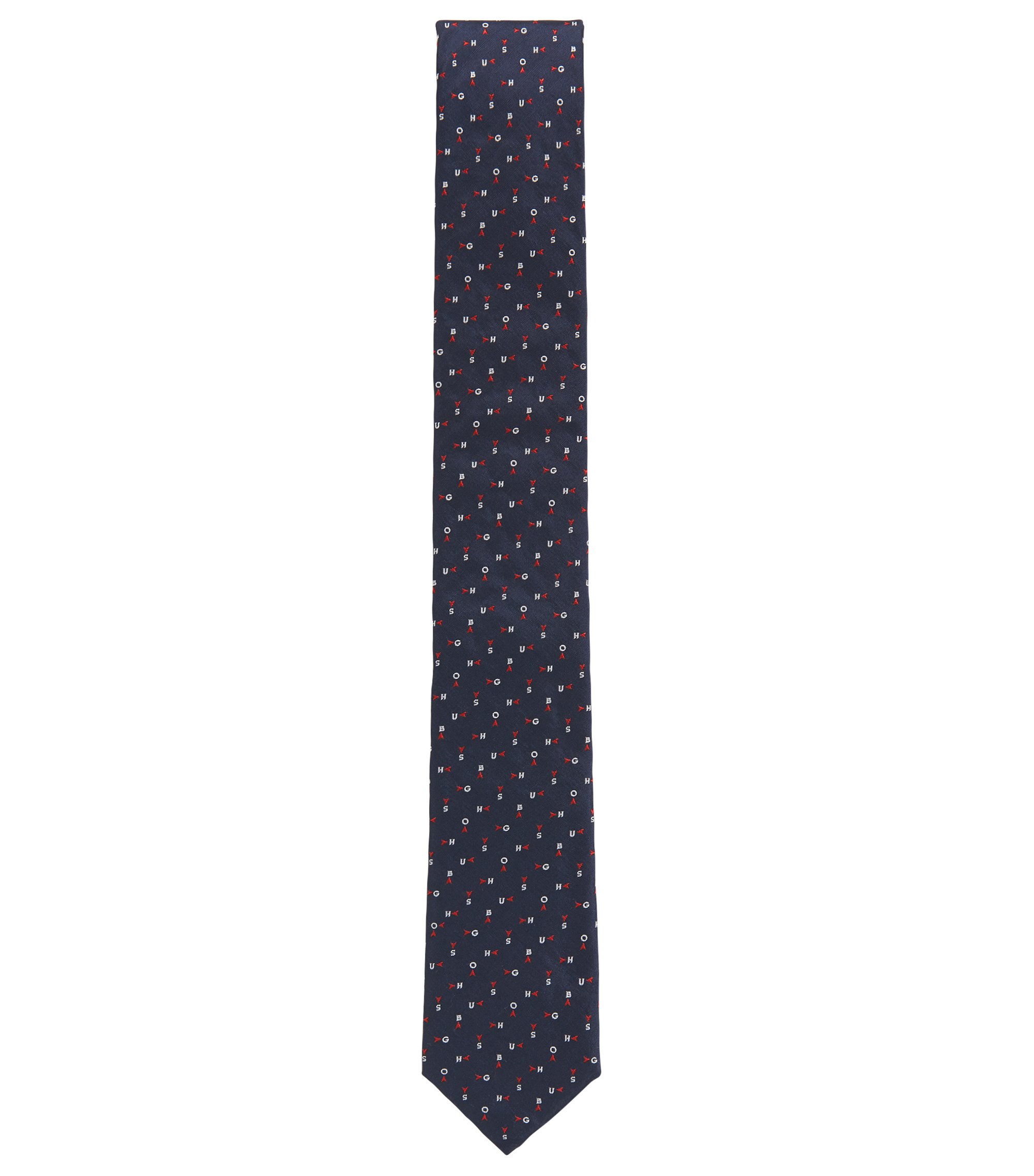 Logo Embroidered Italian Silk Slim Tie, Dark Blue