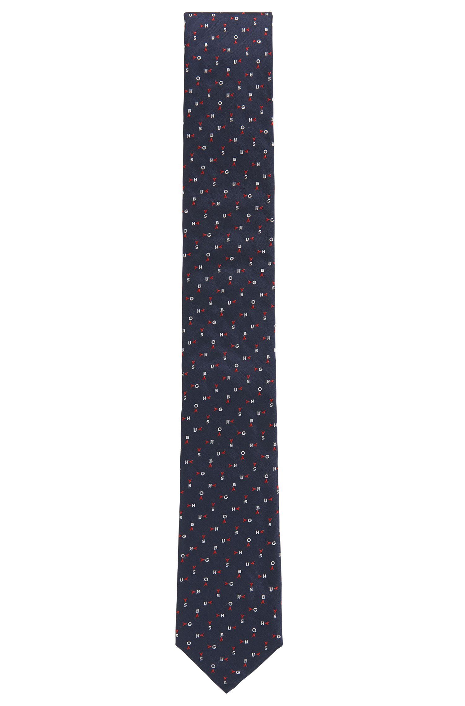 Logo Embroidered Italian Silk Slim Tie