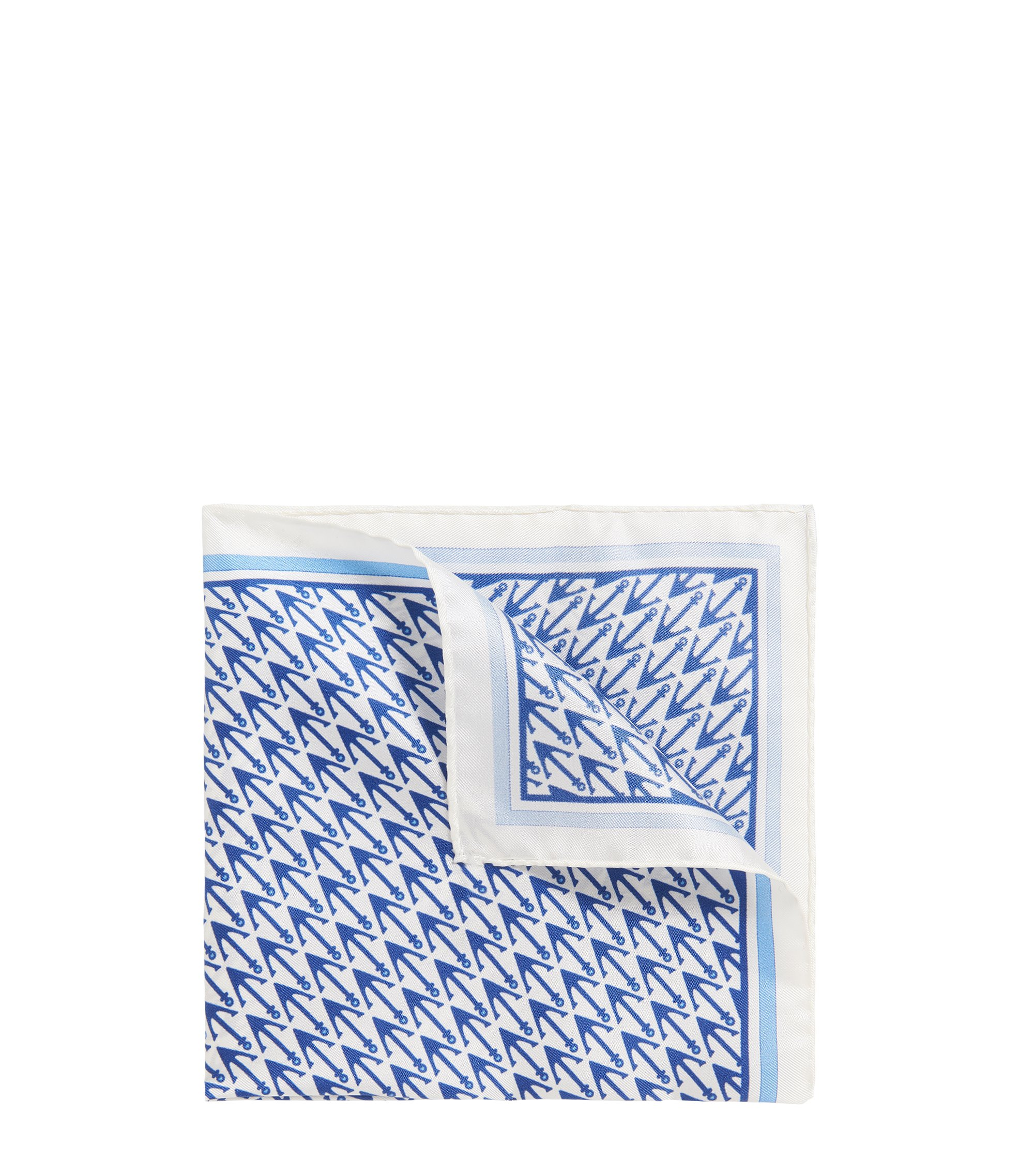 Anchor Italian Silk Pocket Square, White