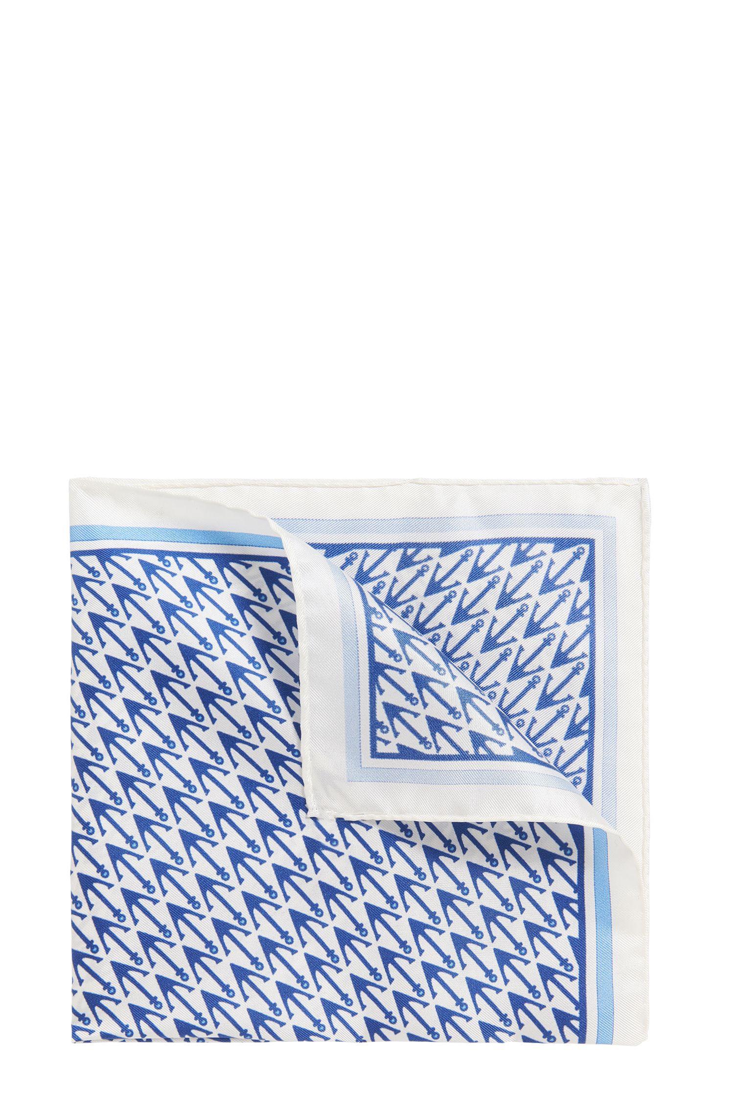 Anchor Italian Silk Pocket Square, White