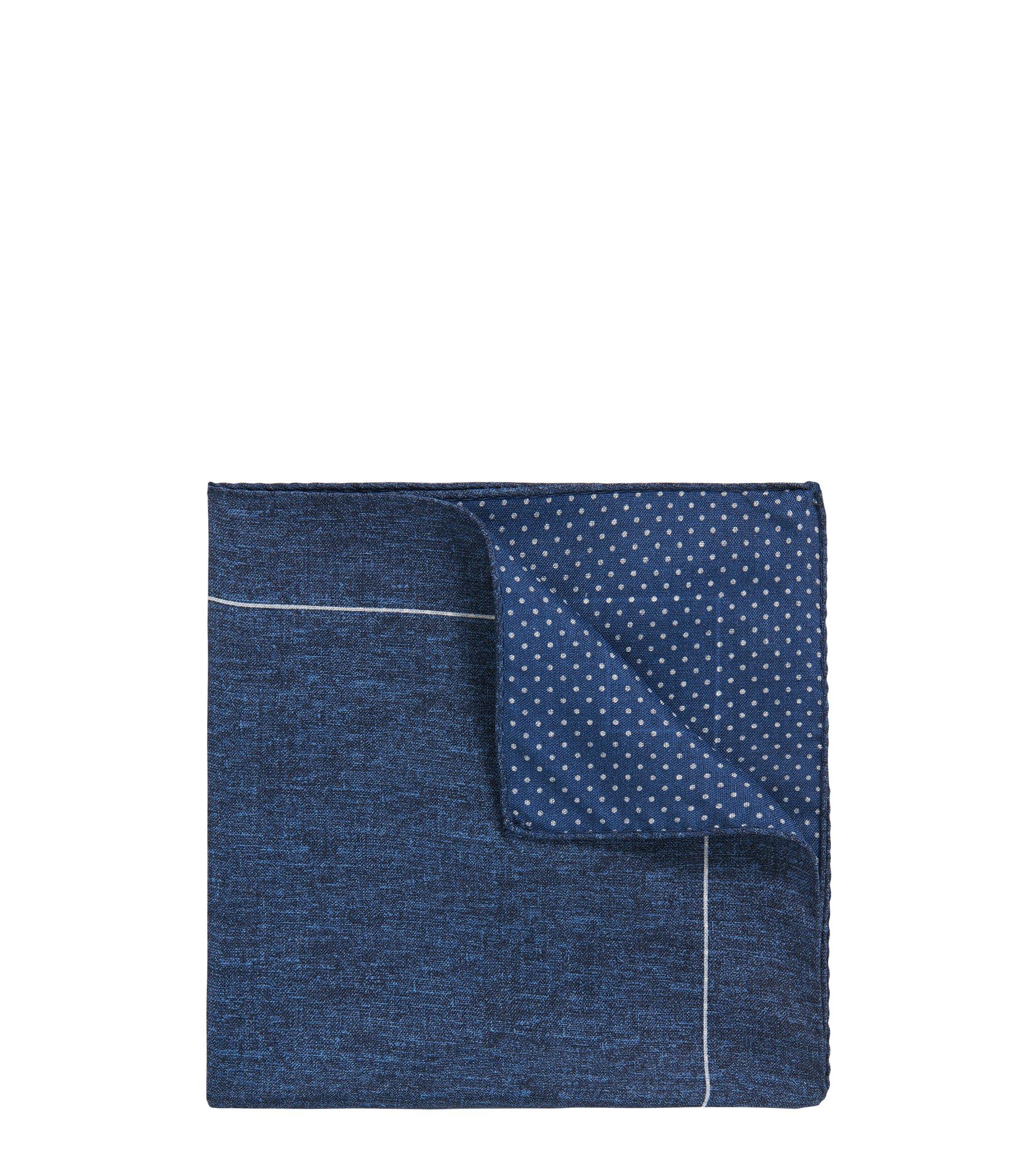Polka Dot Reverse Silk Pocket Square, Dark Blue