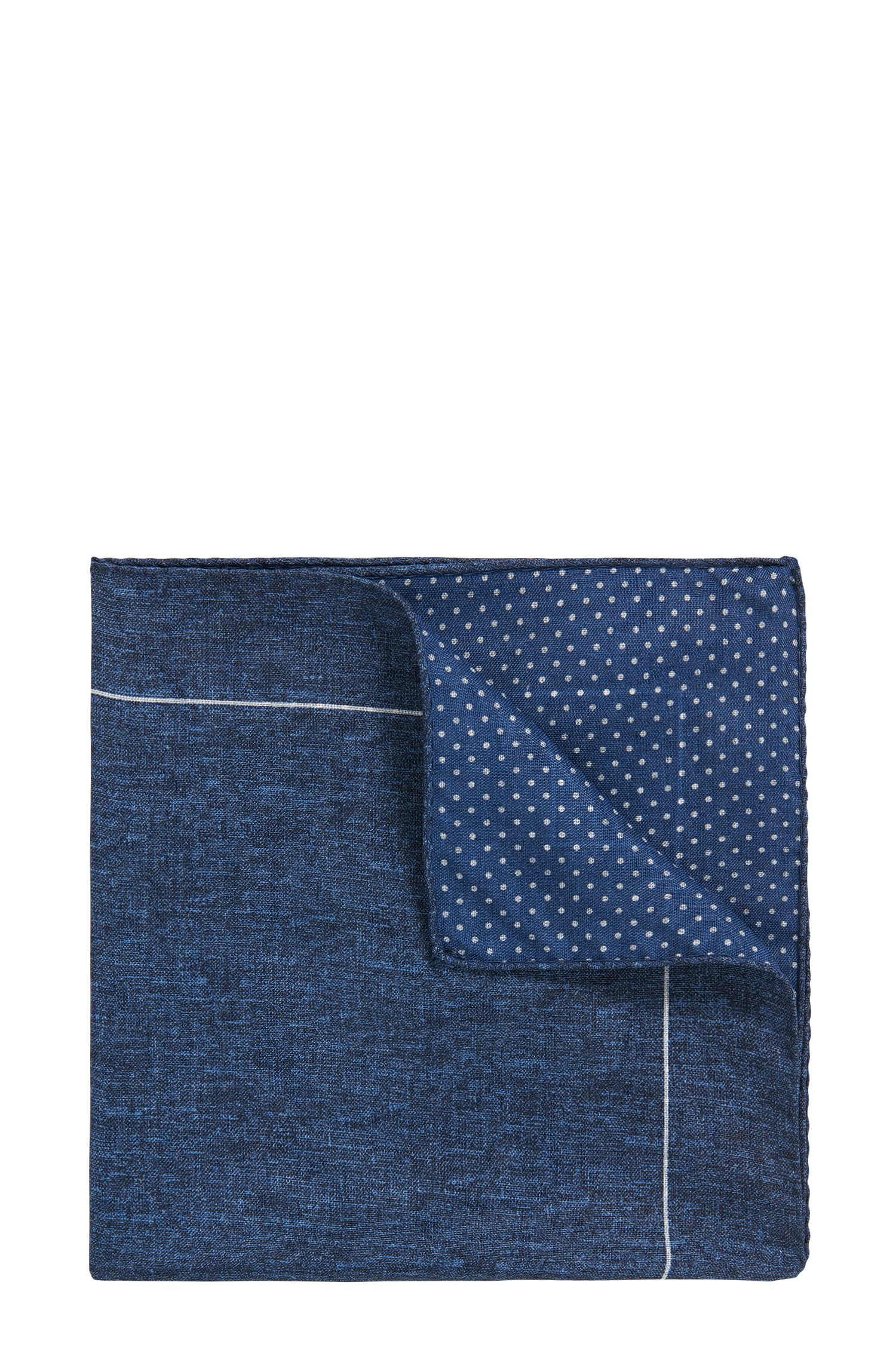 Polka Dot Reverse Silk Pocket Square, Dark Blue