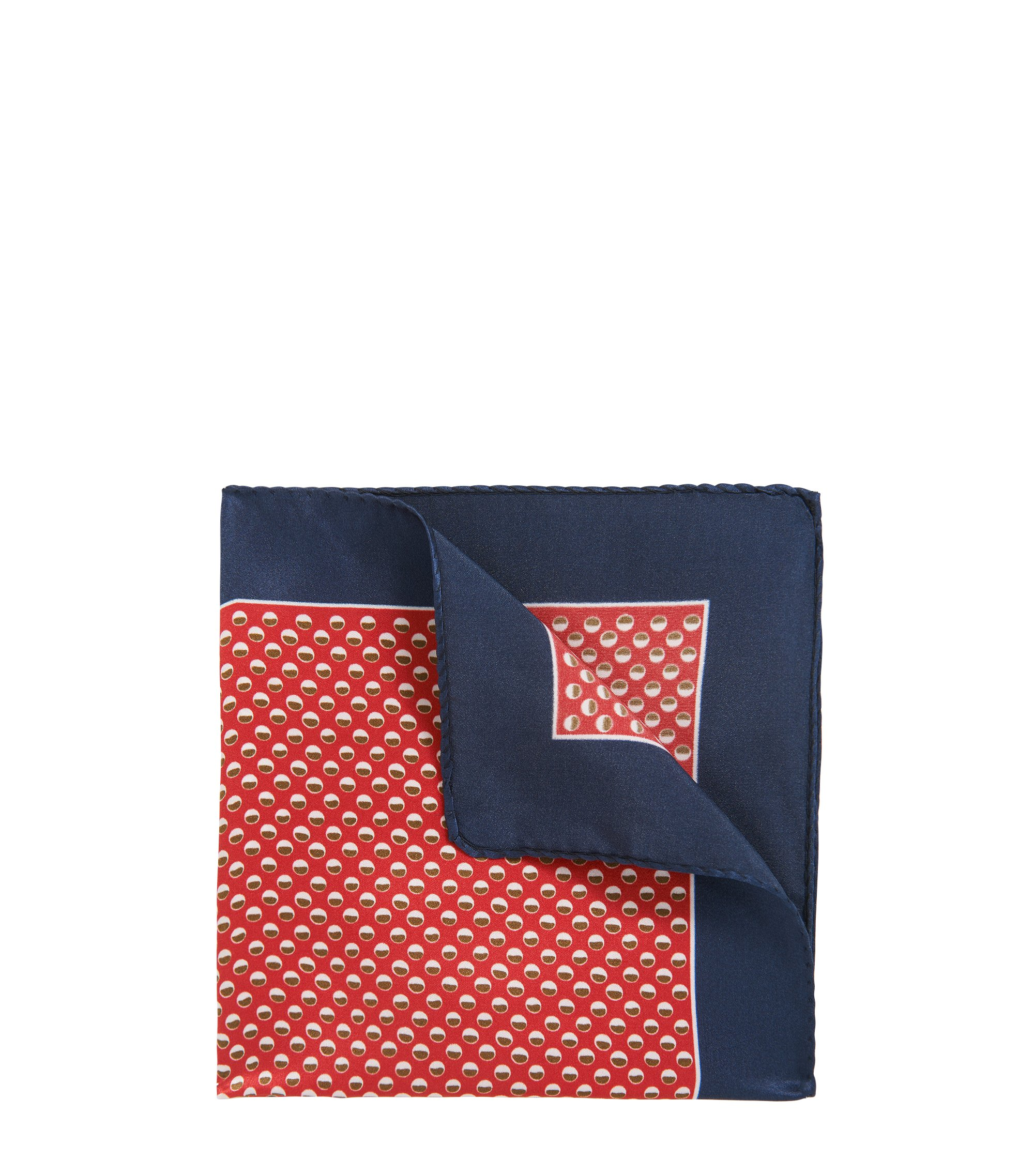 Dotted Silk Pocket Square, Dark Orange