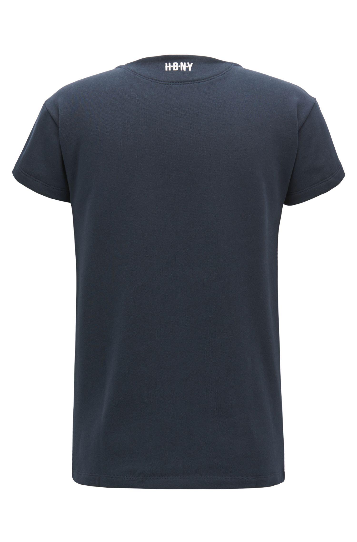 Printed Cotton Jersey T-Shirt | Tasman, Open Blue